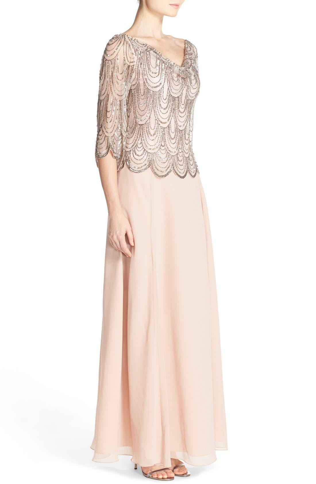 Alternate Image 3  - J Kara Scallop Embellished Popover Gown
