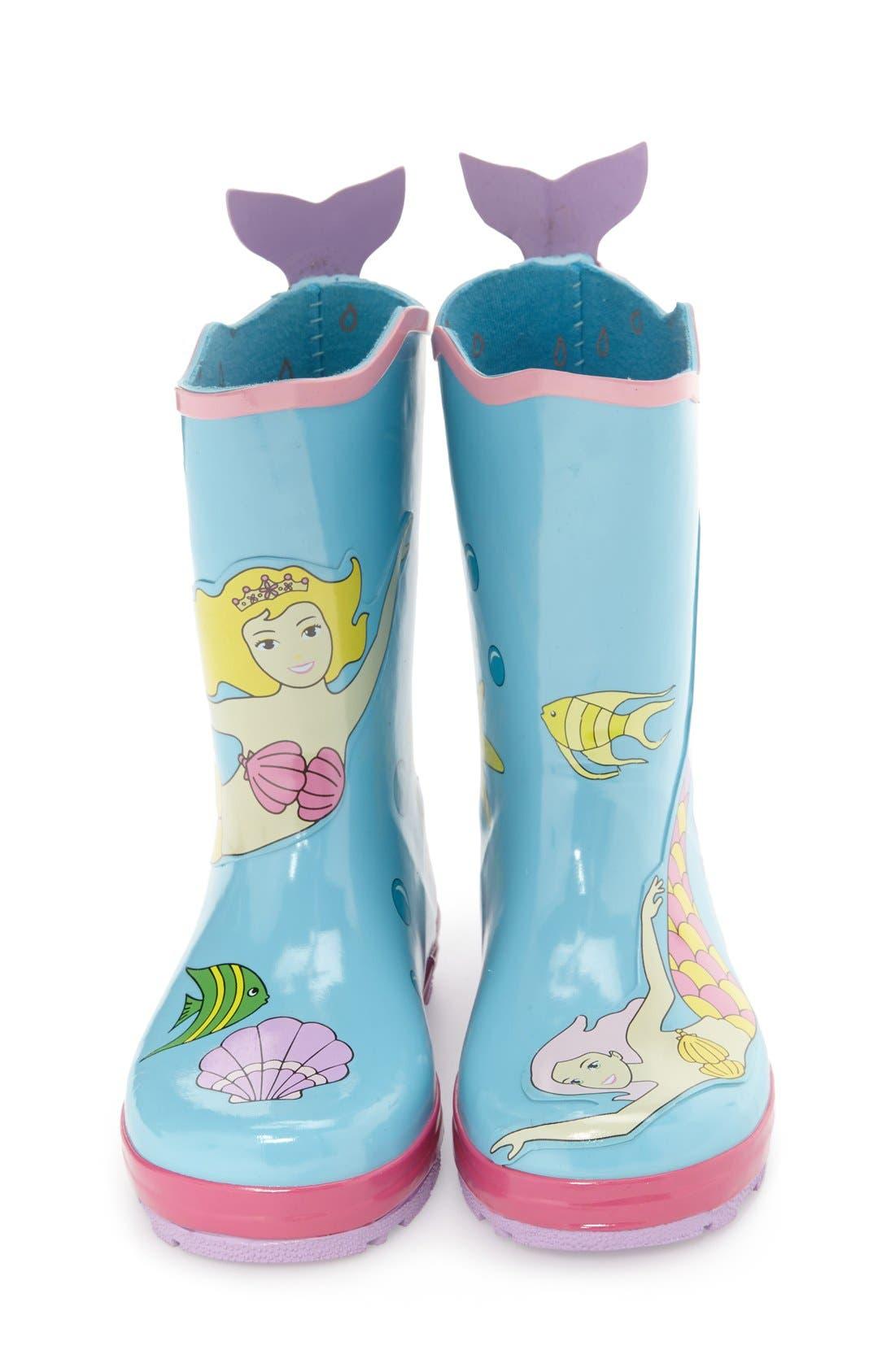 'Mermaid' Waterproof Rain Boot,                             Alternate thumbnail 3, color,                             Blue