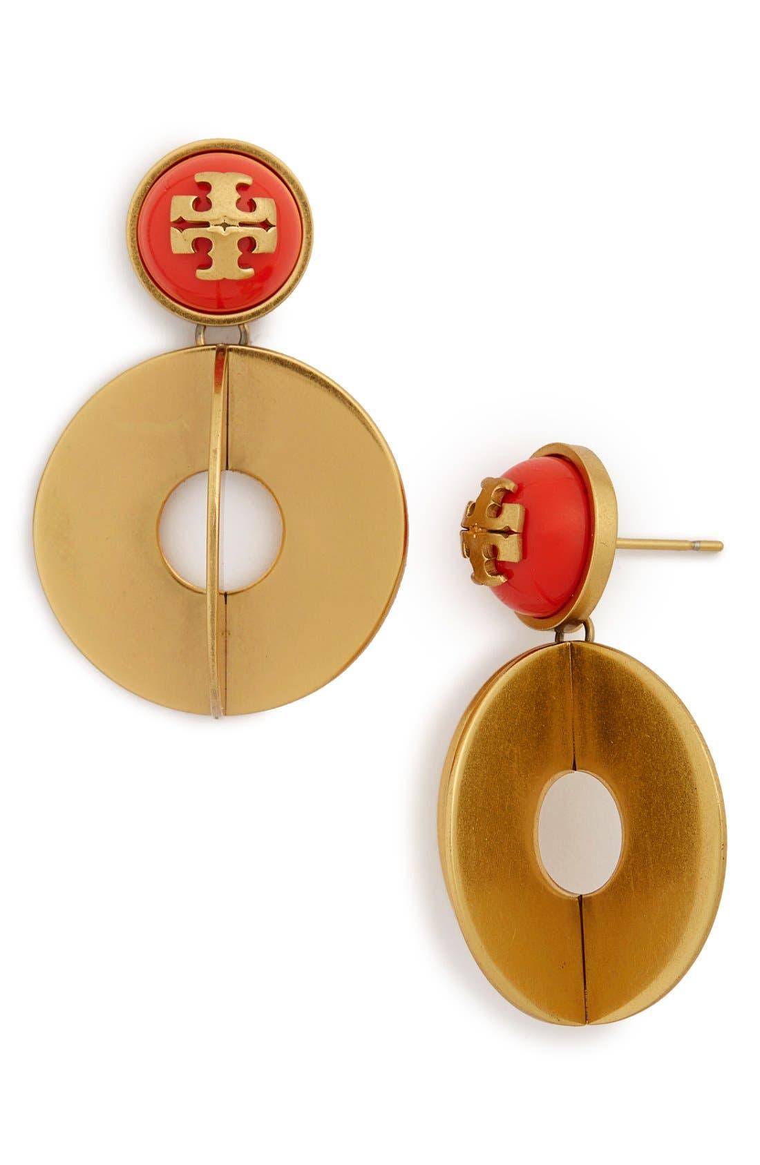 Main Image - Tory Burch 'Confetti' Logo Drop Earrings