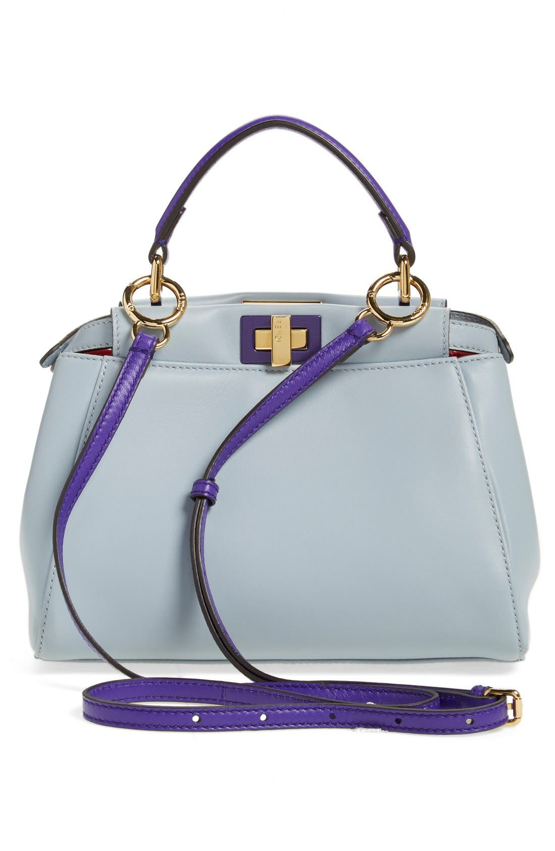 'Mini Peekaboo' Colorblock Leather Bag,                             Main thumbnail 1, color,                             Powder/Purple Ruby