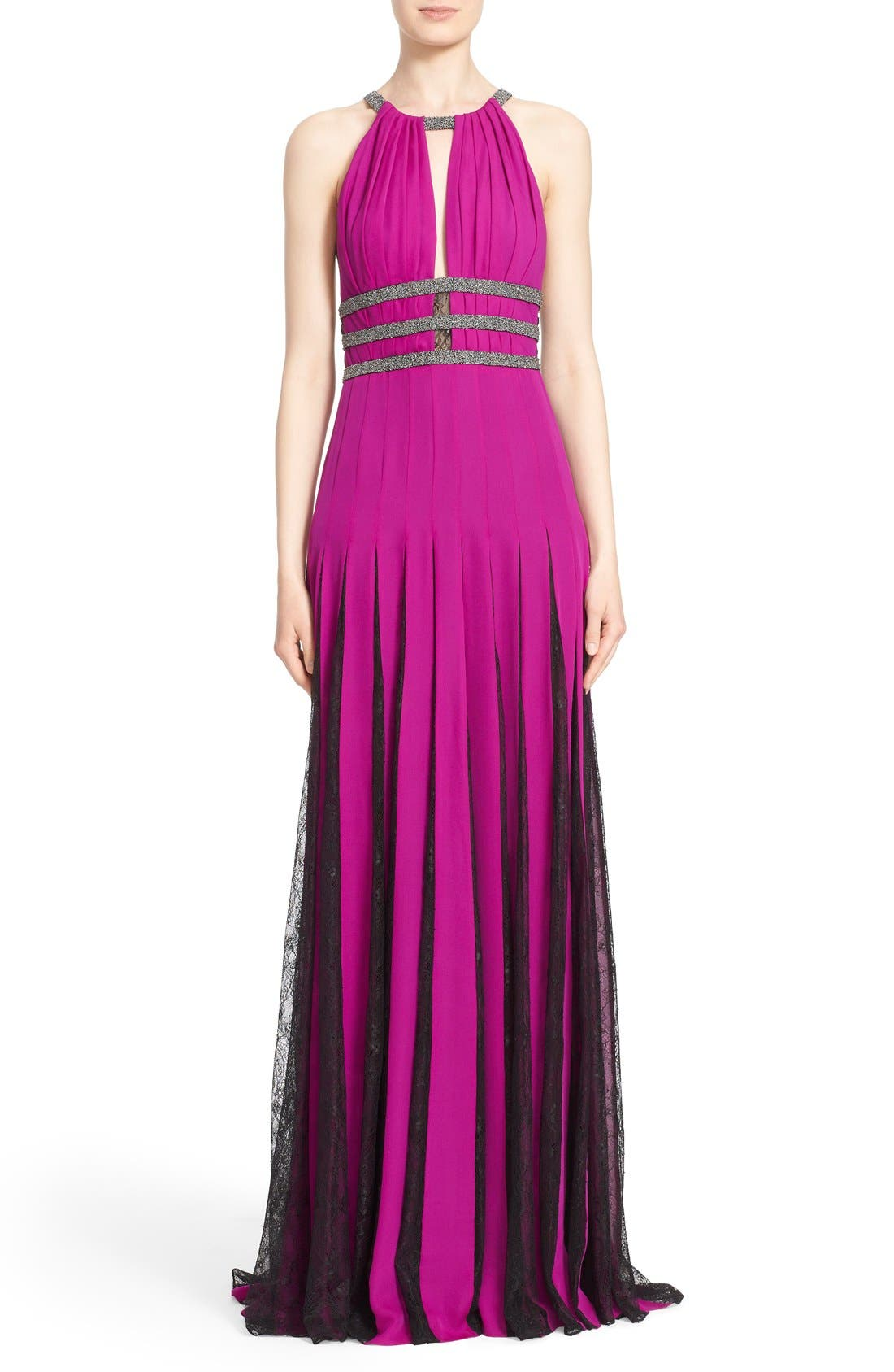Couture Silk Halter Gown with Lace Pleats,                         Main,                         color, Orchid/ Smoke