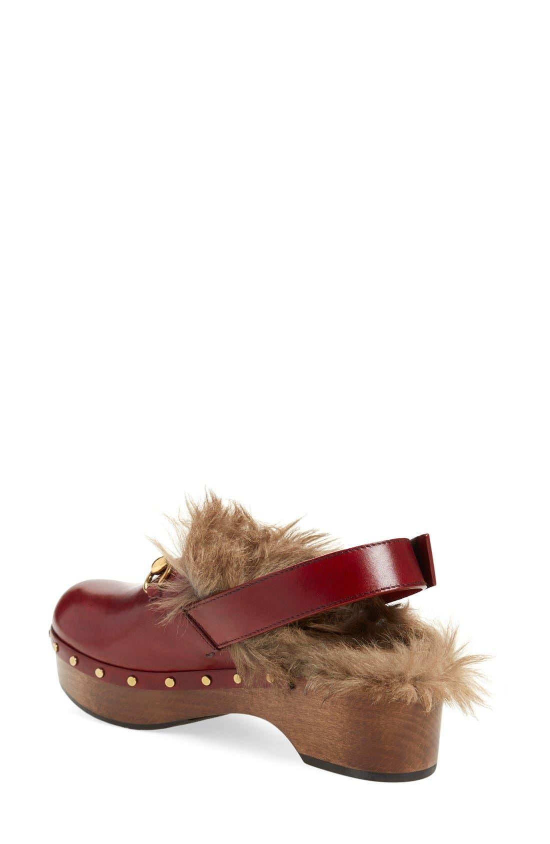 'Amstel' Genuine Kangaroo Fur Clog,                             Alternate thumbnail 2, color,                             Burgundy/ Red