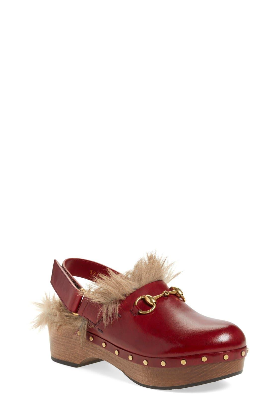 'Amstel' Genuine Kangaroo Fur Clog,                             Main thumbnail 1, color,                             Burgundy/ Red