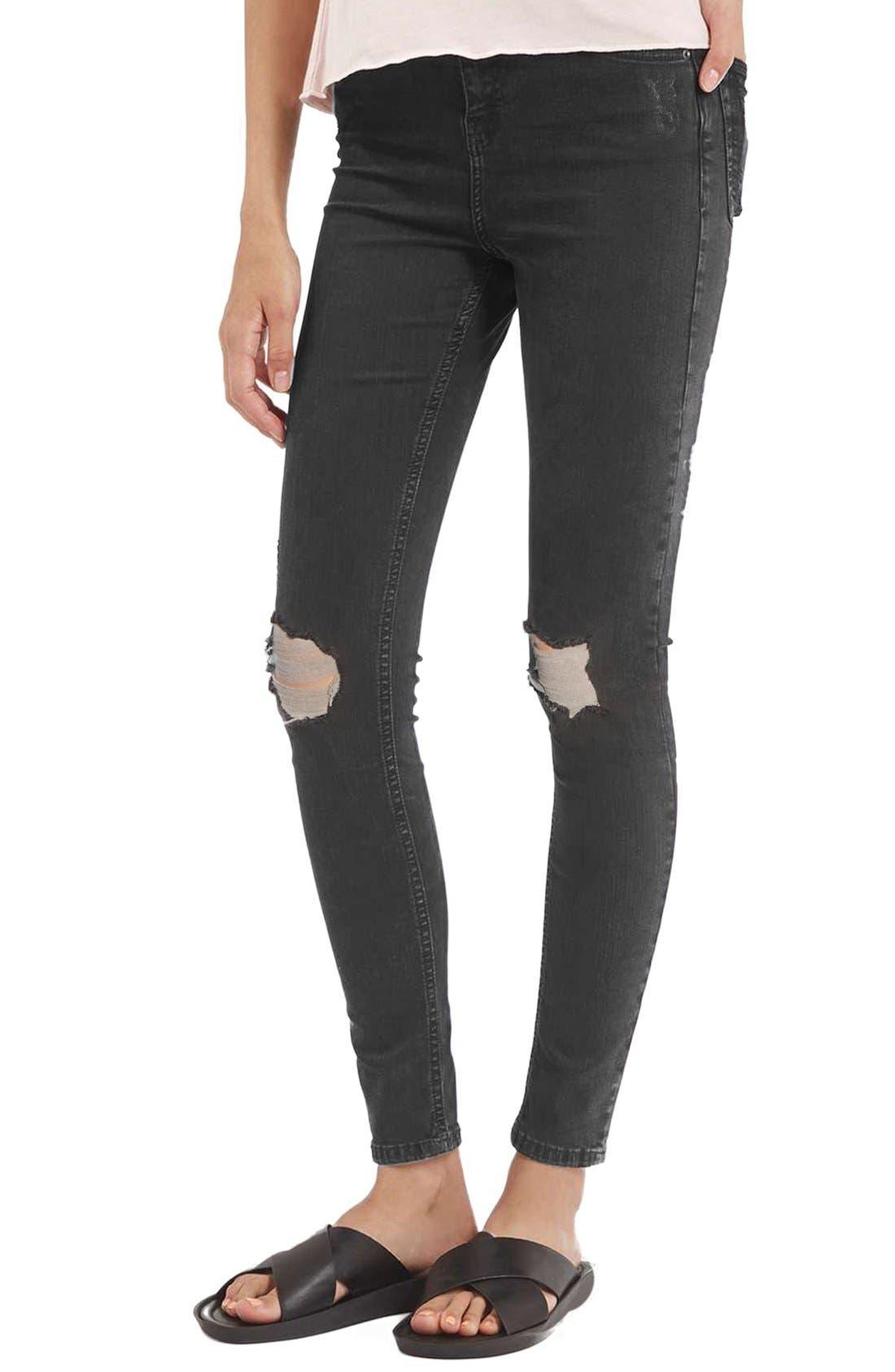 Jamie Shredded High Waist Skinny Jeans,                         Main,                         color, Black