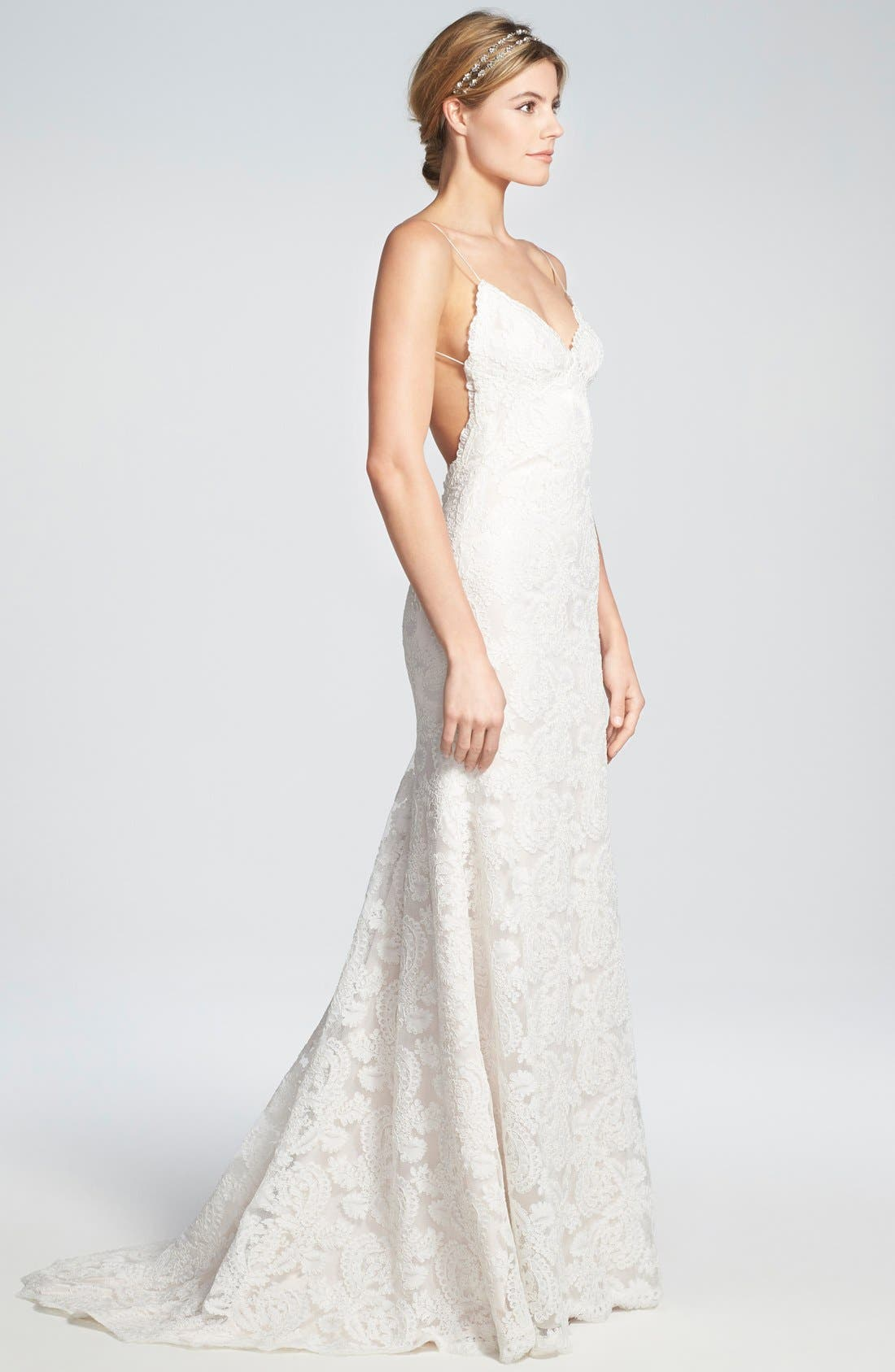 Alternate Image 3  - Katie May 'Lanai' Convertible Cap Sleeve Lace Low Back Gown