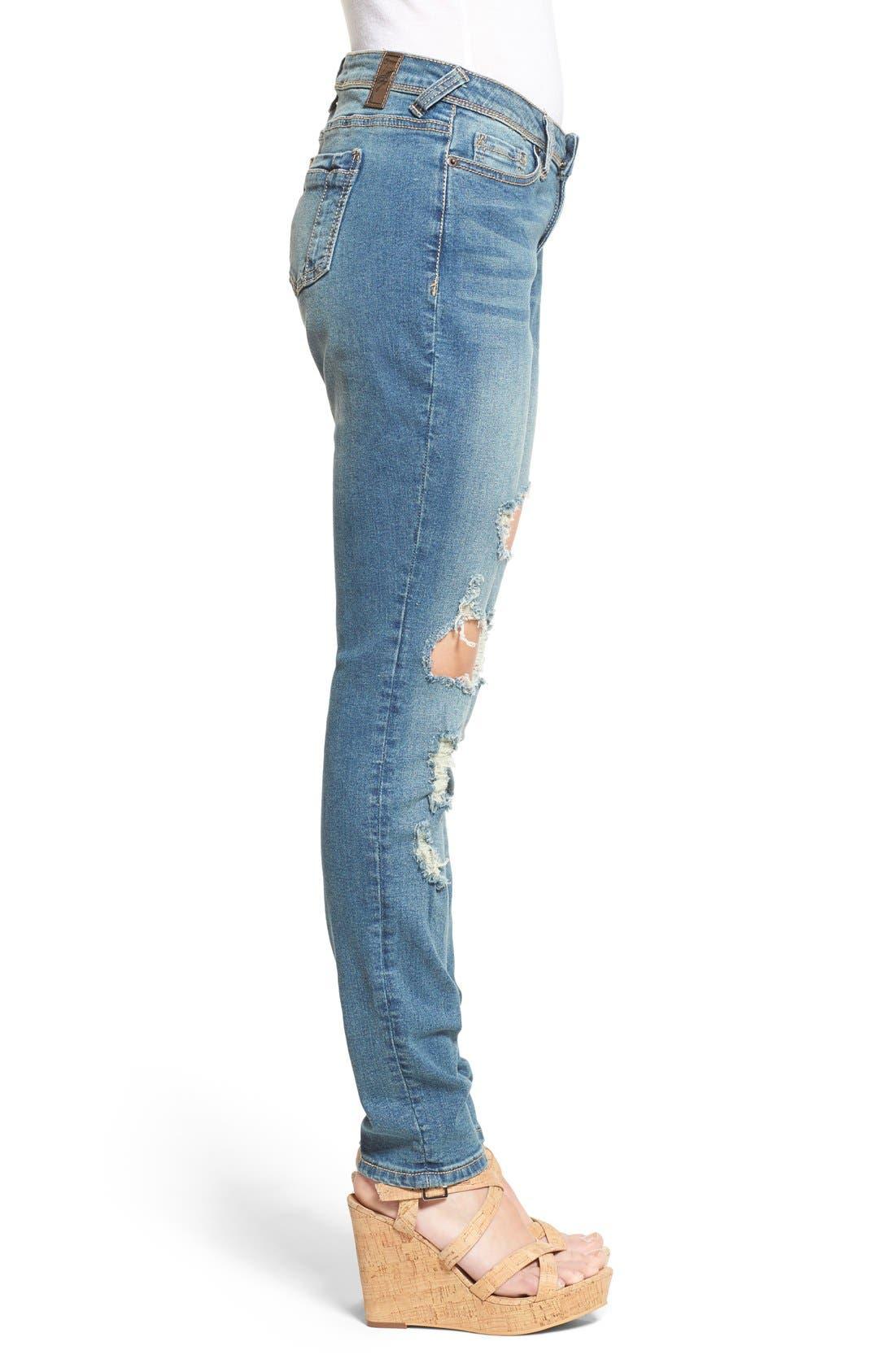 Alternate Image 3  - Poetic Justice 'Maya' Distressed Mid Rise Skinny Jeans (Tough Love)