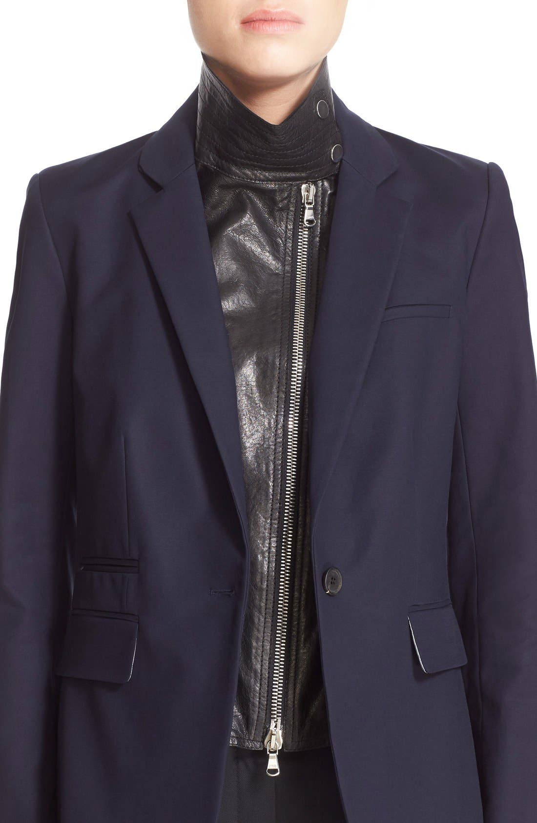 Lambskin Leather Moto Dickey,                             Alternate thumbnail 2, color,                             Black