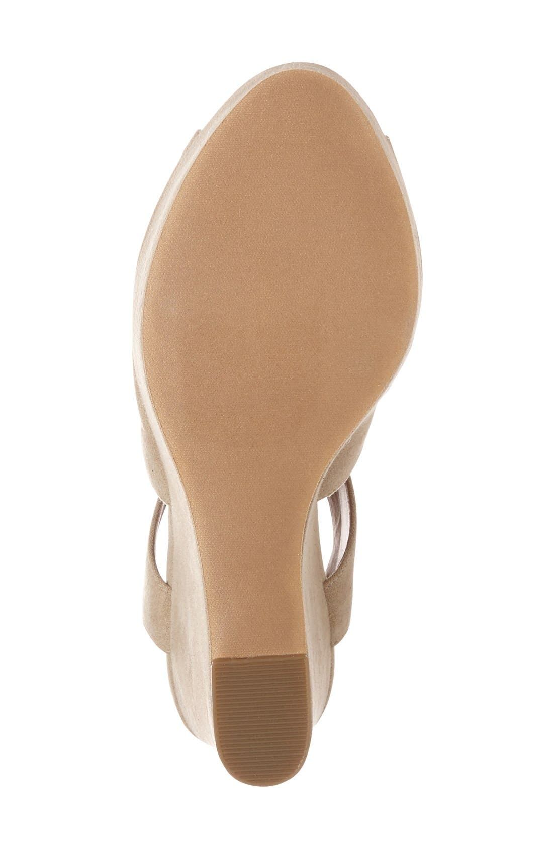 'Solar' Platform Wedge Sandal,                             Alternate thumbnail 4, color,                             Light Taupe Faux Suede