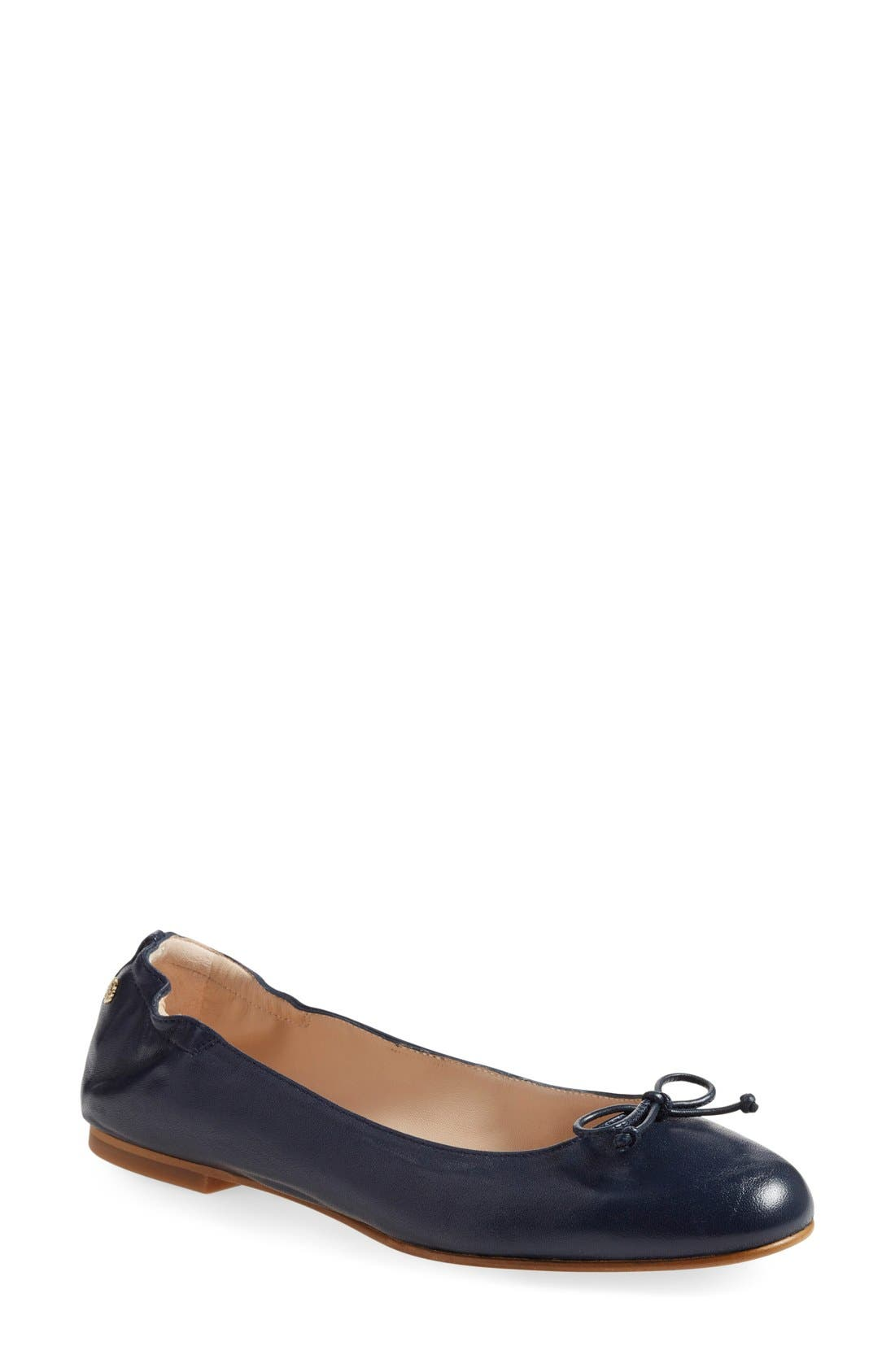 'Thea' Ballet Flat,                             Main thumbnail 1, color,                             Navy Leather