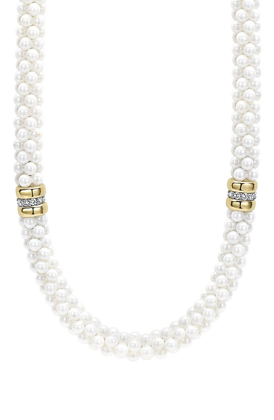 'White Caviar' 7mm Beaded Diamond Station Necklace,                             Alternate thumbnail 2, color,                             White Caviar/ Yellow Gold
