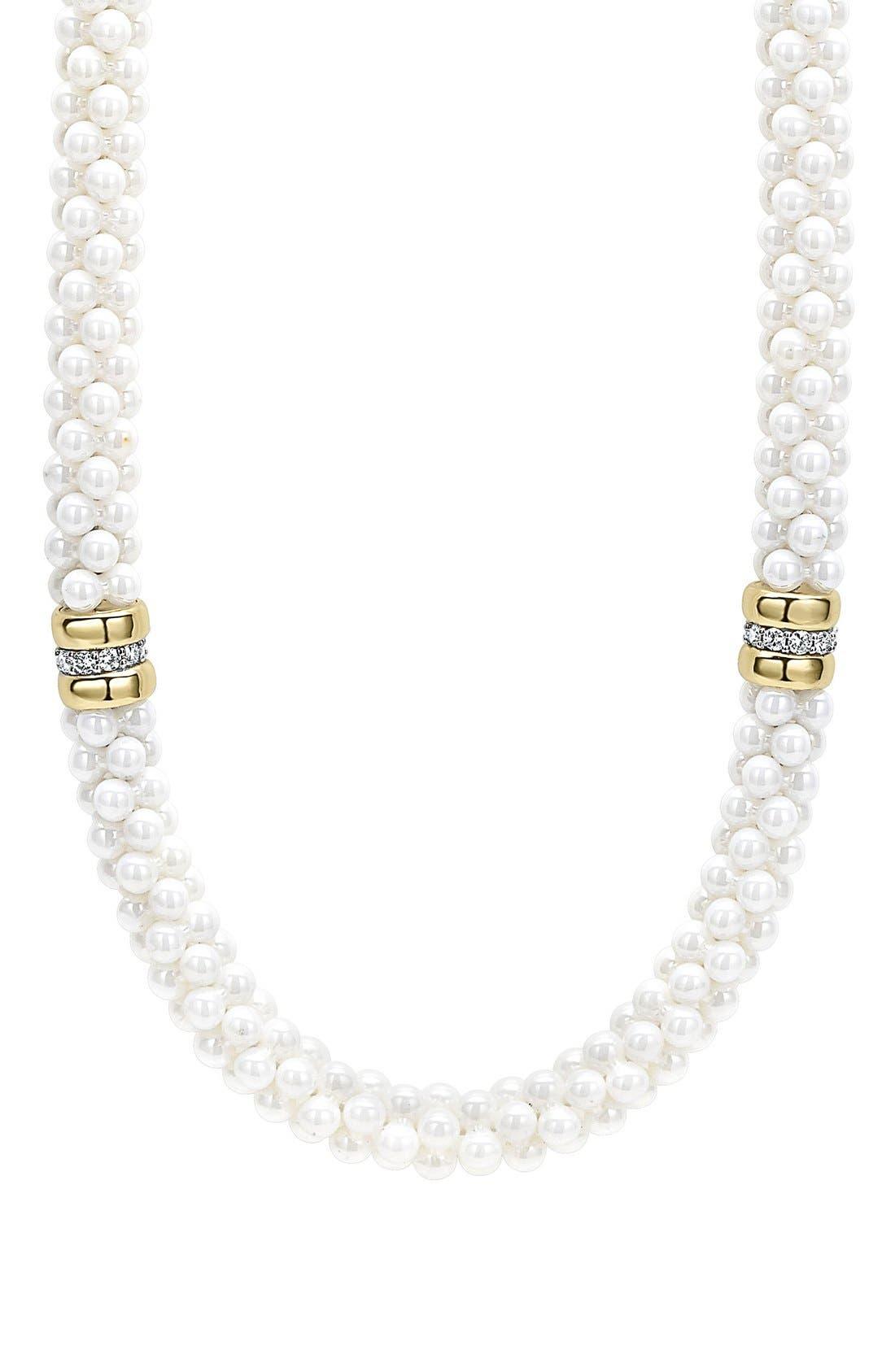 Alternate Image 2  - LAGOS 'White Caviar' 7mm Beaded Diamond Station Necklace