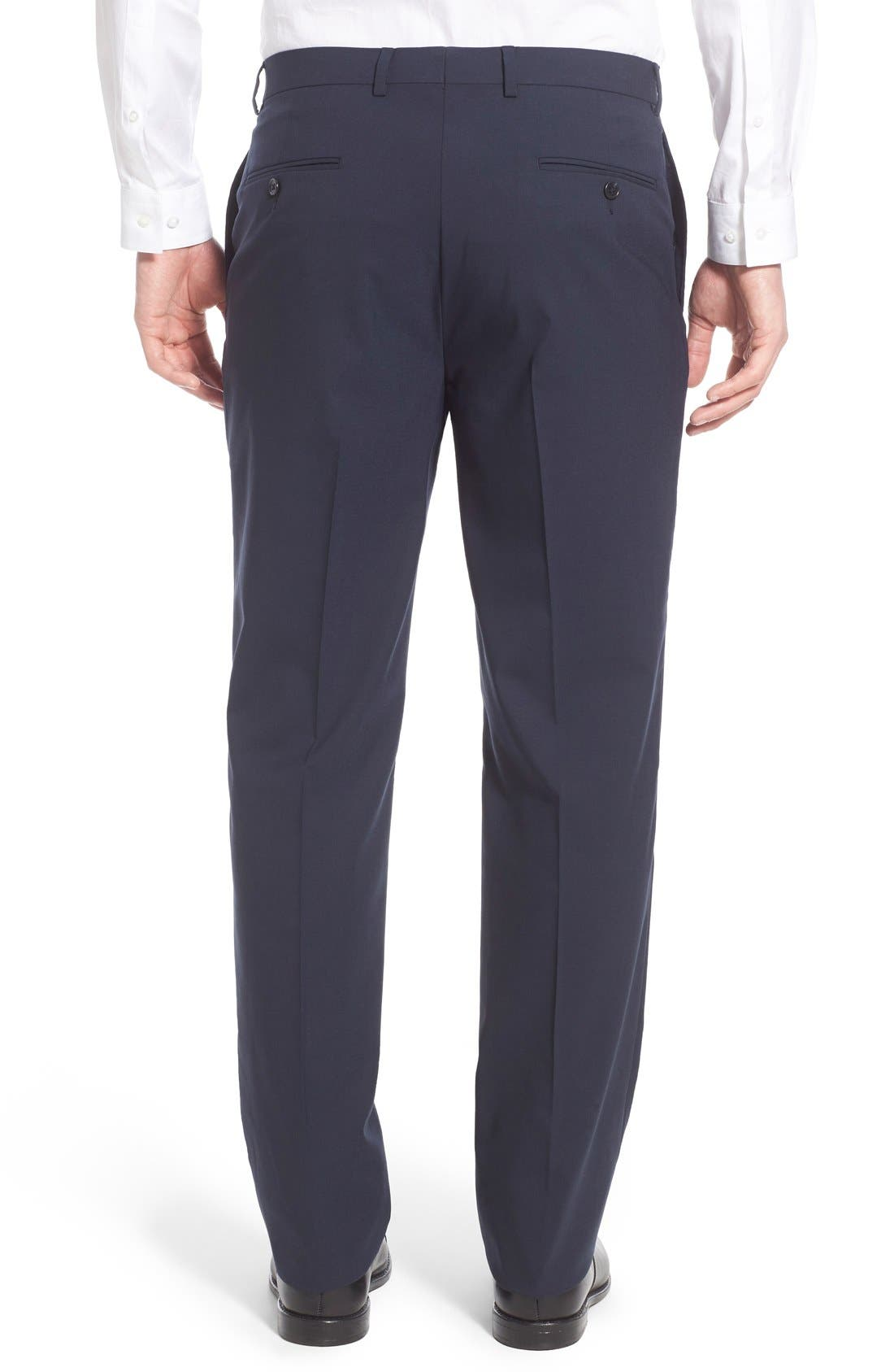 Flat Front Solid Stretch Wool Trousers,                             Alternate thumbnail 2, color,                             Navy Solid