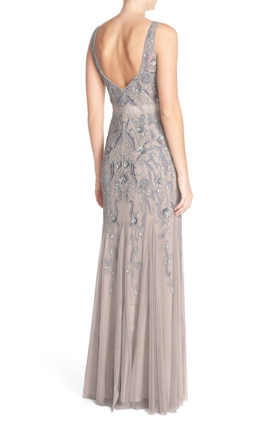 Alternate Image 2  - Adrianna Papell Embellished Mesh Gown (Regular & Petite)