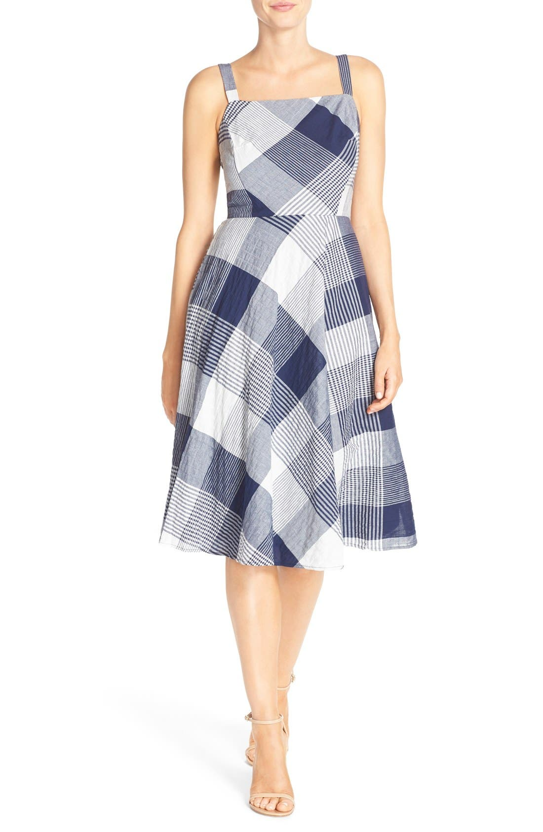 Alternate Image 1 Selected - Taylor Dresses Check Stretch Cotton Fit & Flare Dress