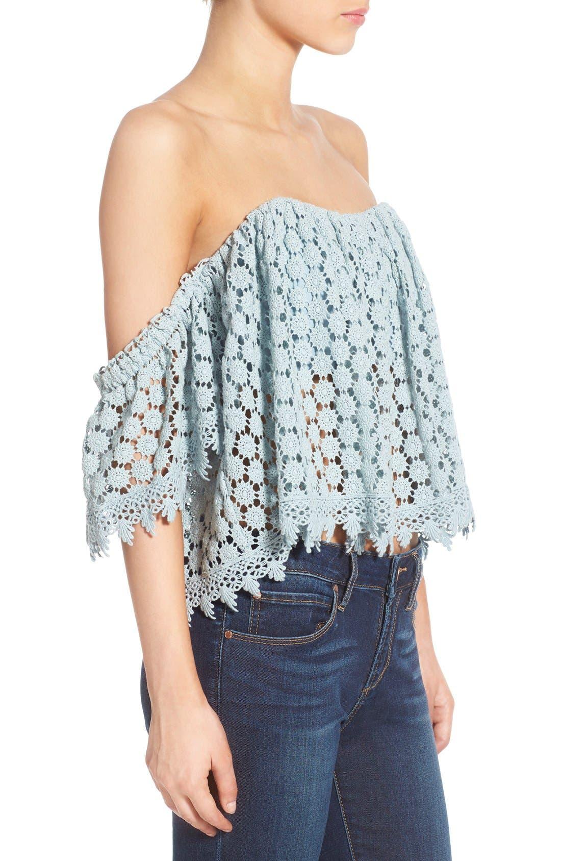 'Amelia' Off the Shoulder Crochet Crop Top,                             Alternate thumbnail 3, color,                             Mint
