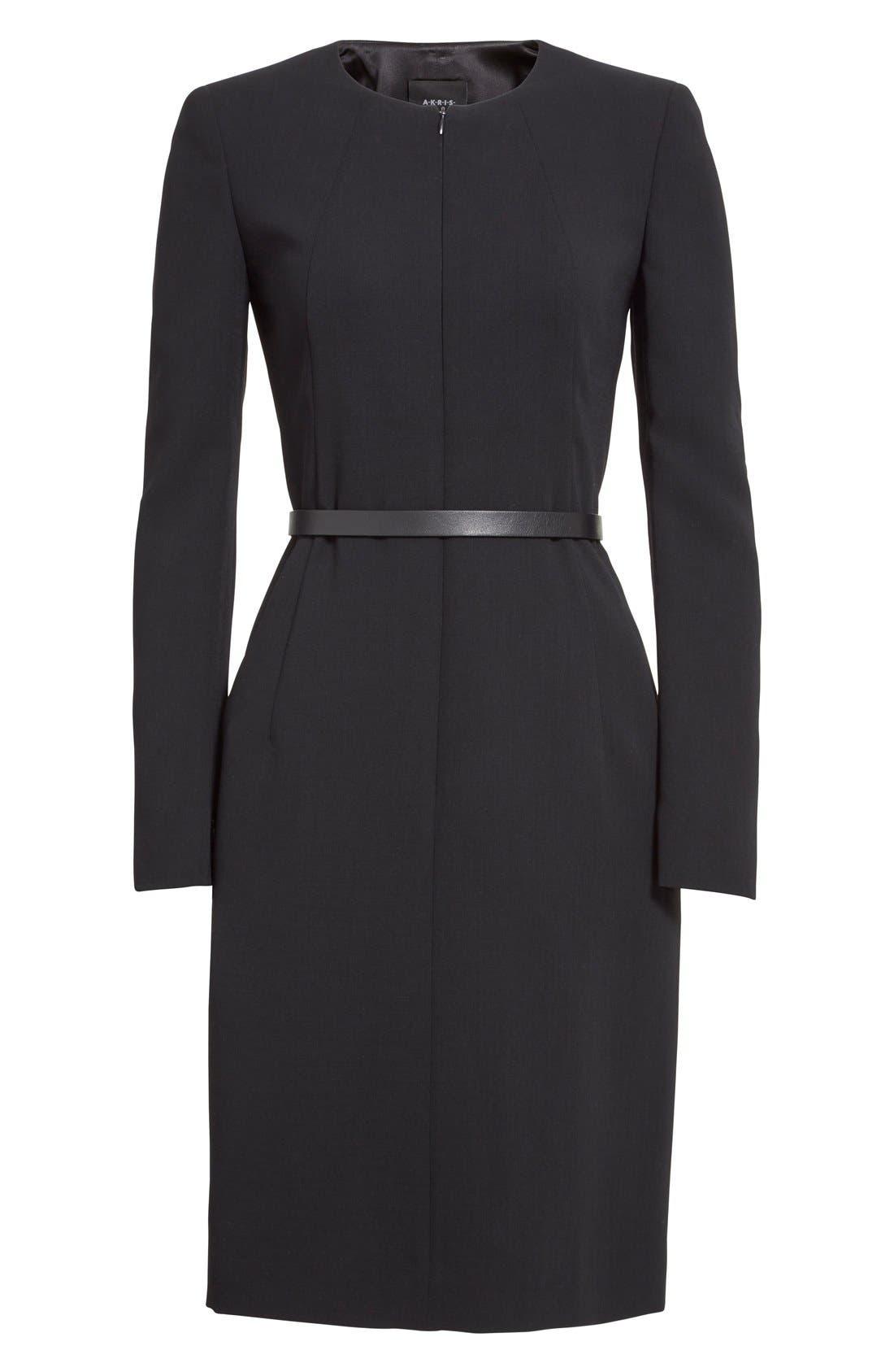 Alternate Image 4  - Akris Belted Zip Front Wool Blend Dress