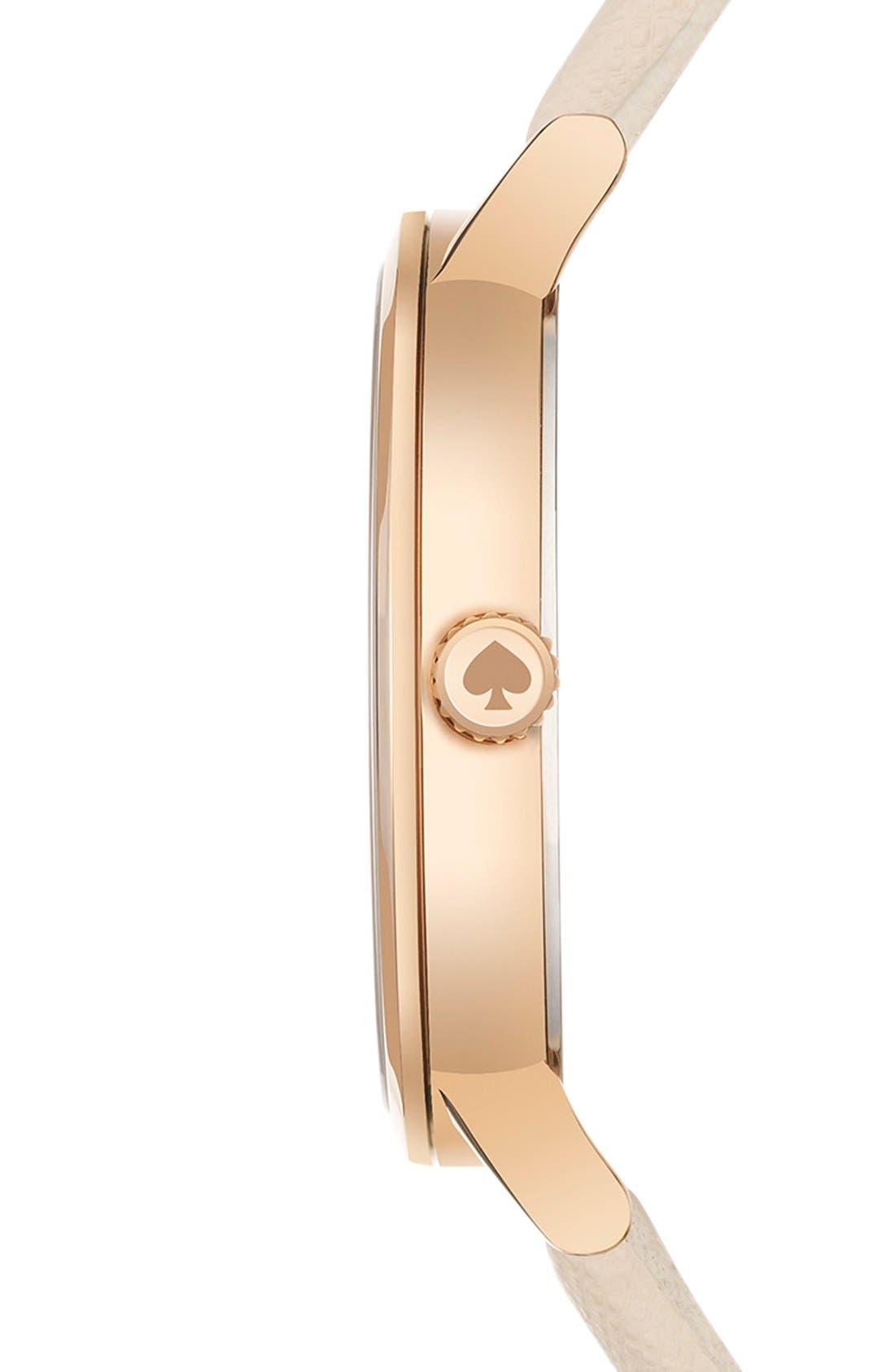 kate spade 'metro dot' leather strap watch, 34mm,                             Alternate thumbnail 3, color,                             Vachetta