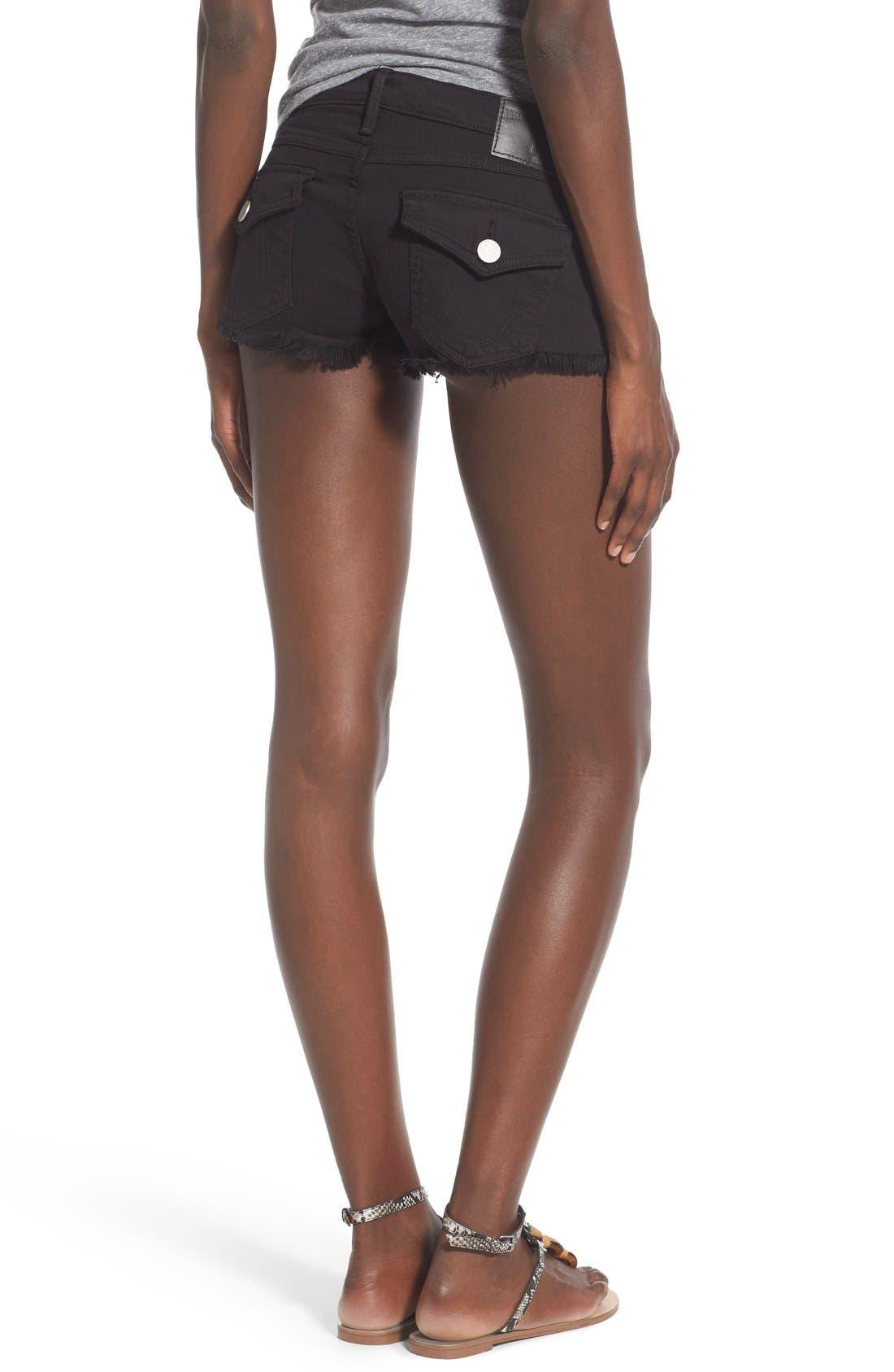 Alternate Image 2  - True Religion Brand Jeans Joey Flap Pocket Cutoff Denim Shorts (Jet Black)