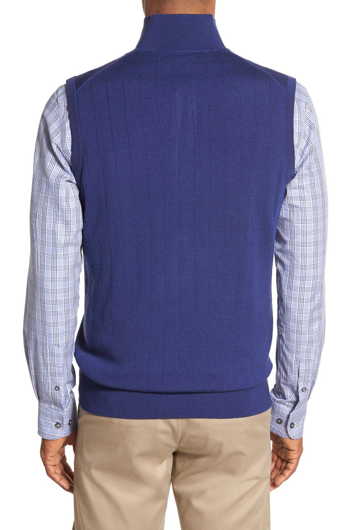 Quarter Zip Wool Sweater Vest,                             Alternate thumbnail 2, color,                             Summer Navy