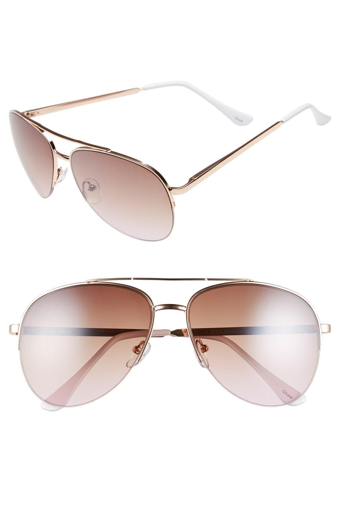 Main Image - BP. 60mm Gradient Metal Aviator Sunglasses