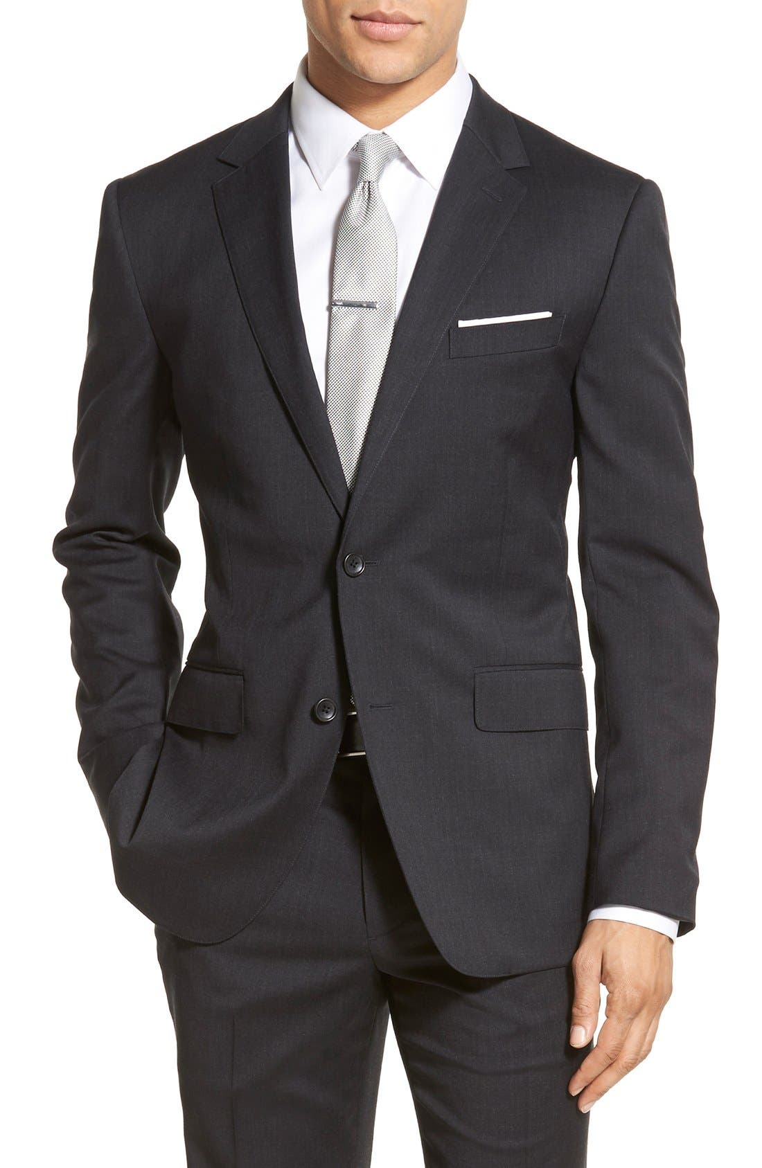 Trim Fit Solid Stretch Wool Sport Coat,                         Main,                         color, Charcoal