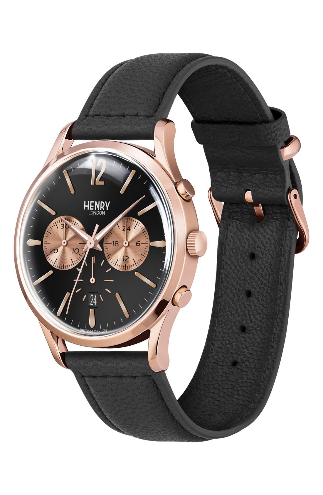 Alternate Image 2  - Henry London 'Richmond' Chronograph Leather Strap Watch, 41mm