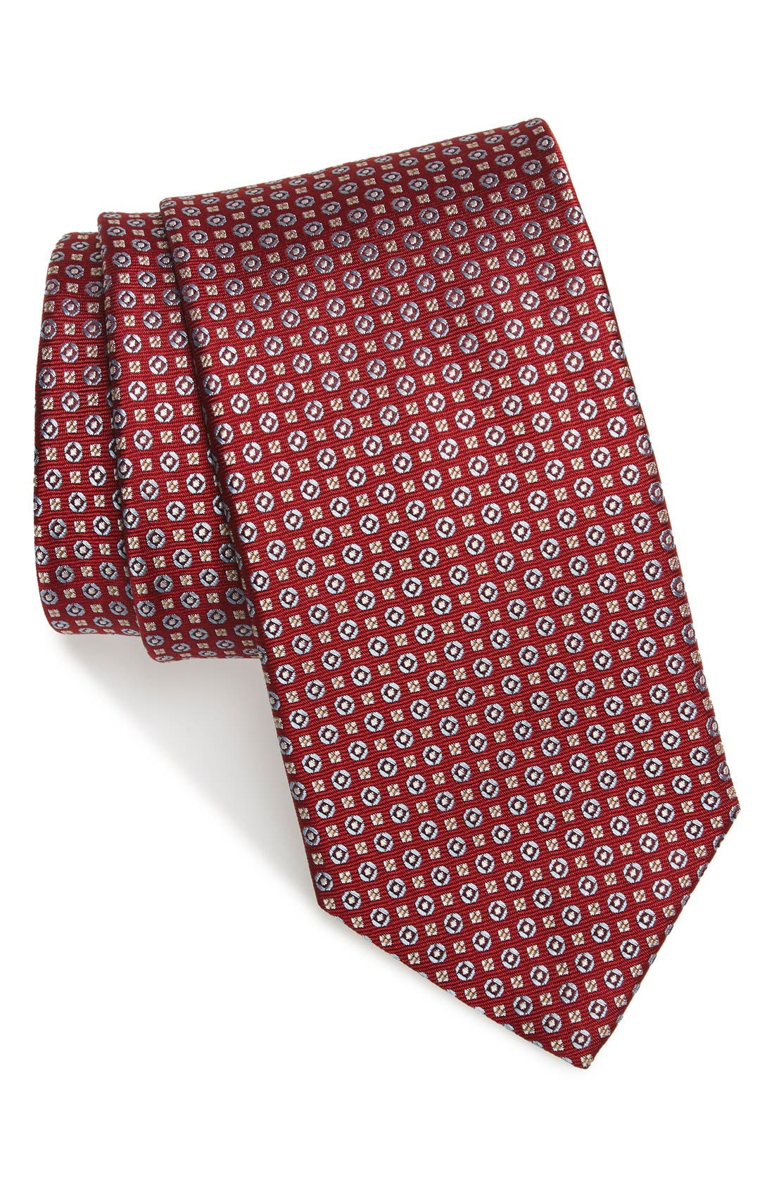 Geometric Silk Tie,                         Main,                         color, Red