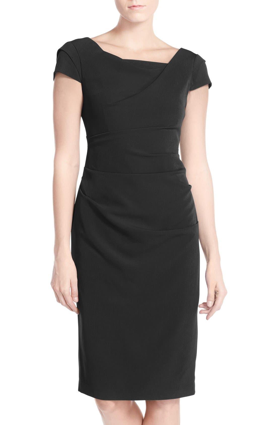 Ruched Matte Stretch Crepe Sheath Dress,                             Main thumbnail 1, color,                             Black