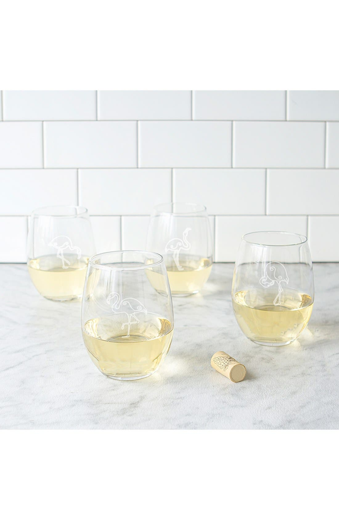 Alternate Image 5  - Cathy's Concepts Theme Etched Set of 4 Stemless Wine Glasses
