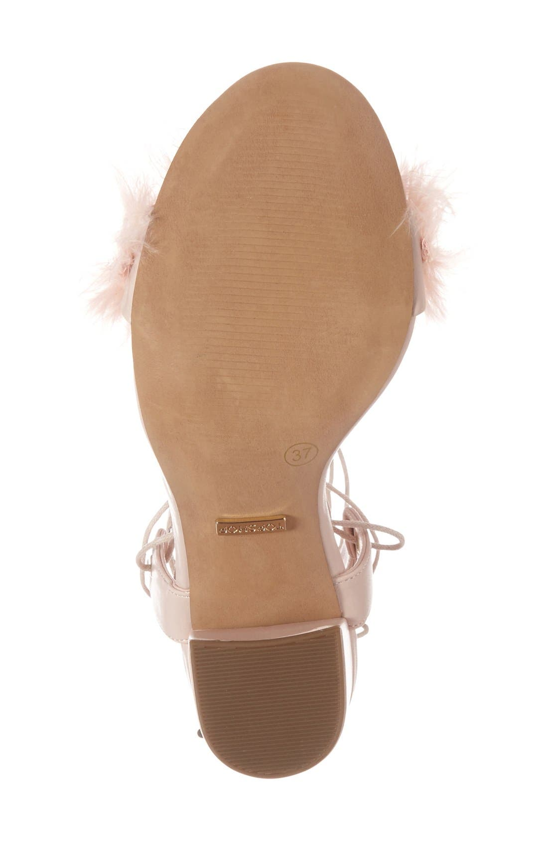 Marabou Feather Lace-Up Sandal,                             Alternate thumbnail 4, color,                             Nude