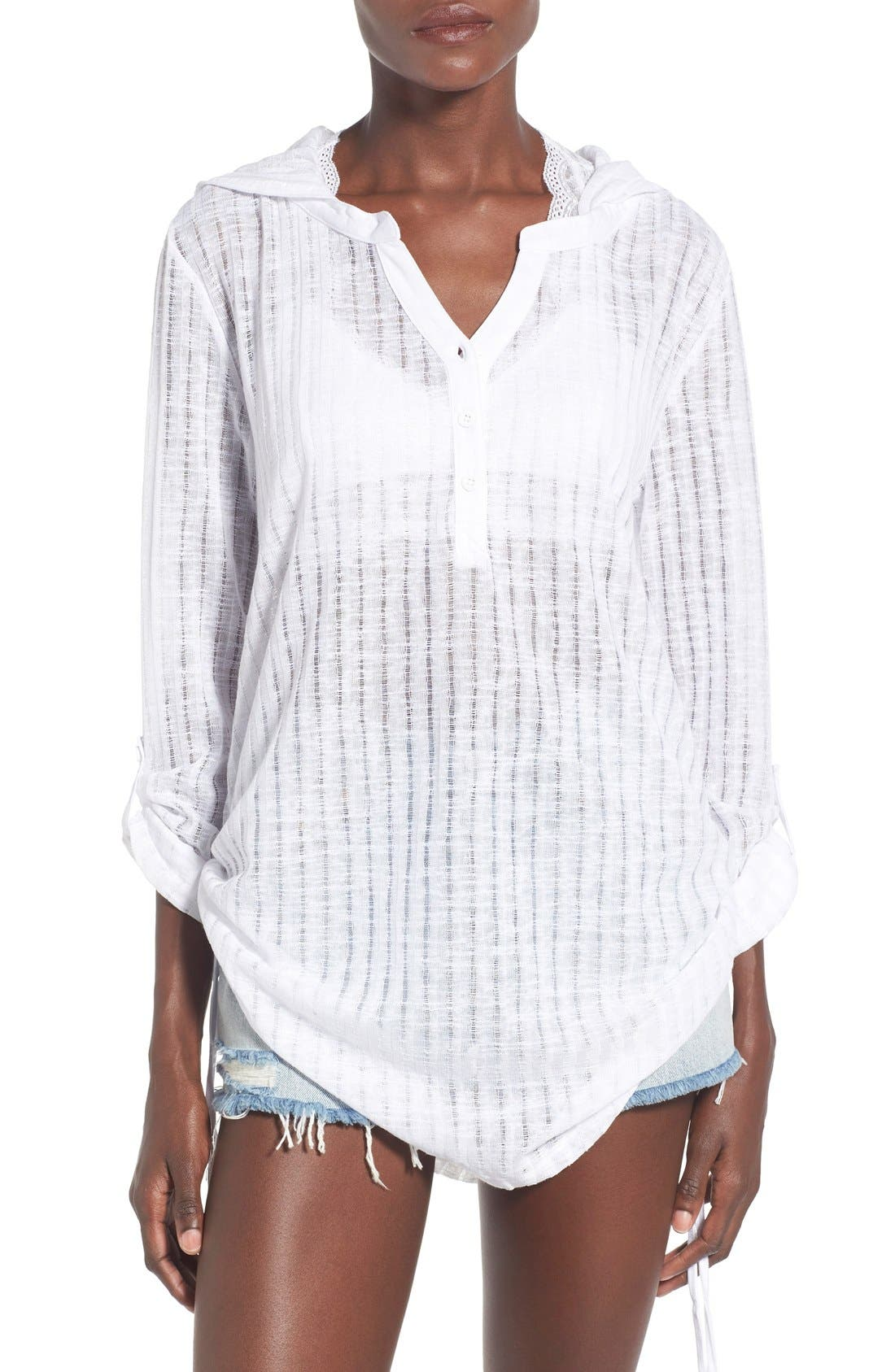 Lovechild Hooded Cover-Up Top,                             Main thumbnail 1, color,                             White