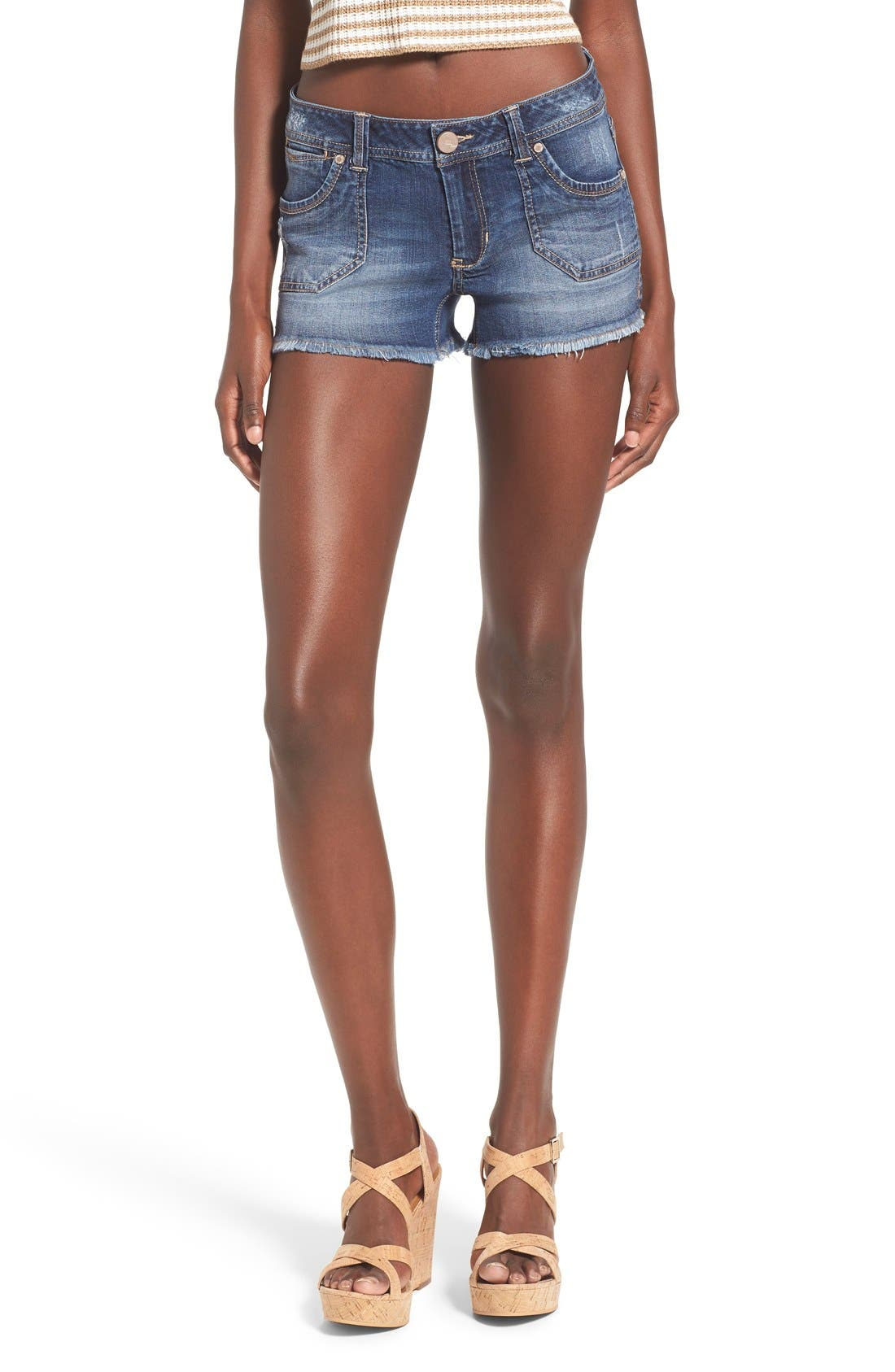 Alternate Image 1 Selected - 1822 Denim Porkchop Pocket Denim Shorts