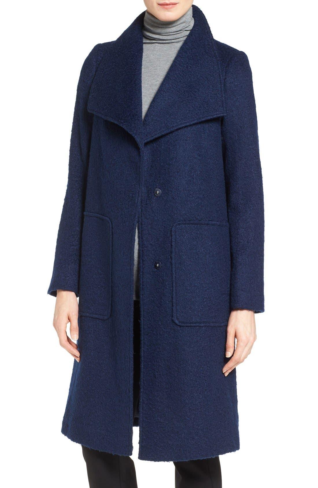 Bernardo Textured Long Coat (Regular & Petite)