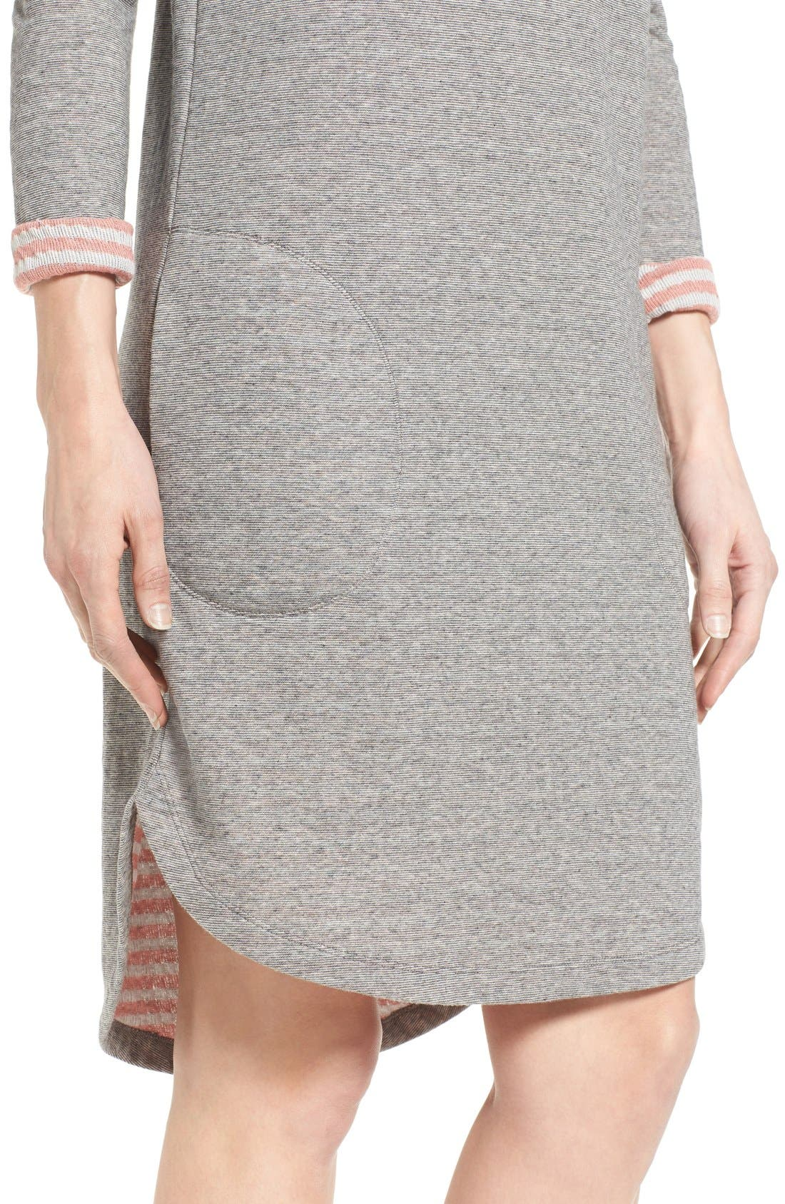 Contrast Cuff Double Knit Dress,                             Alternate thumbnail 4, color,                             Grey- Coral Pattern