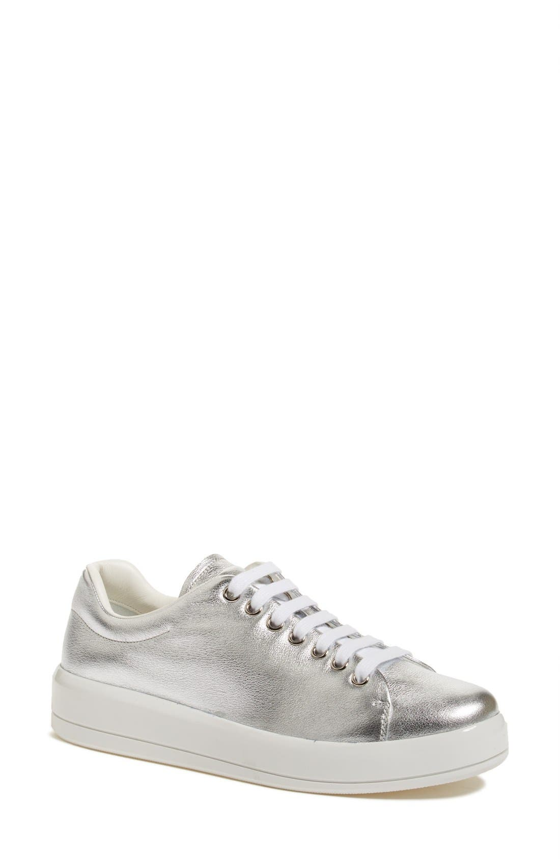 Platform Lace-Up Sneaker,                         Main,                         color, Metallic Silver