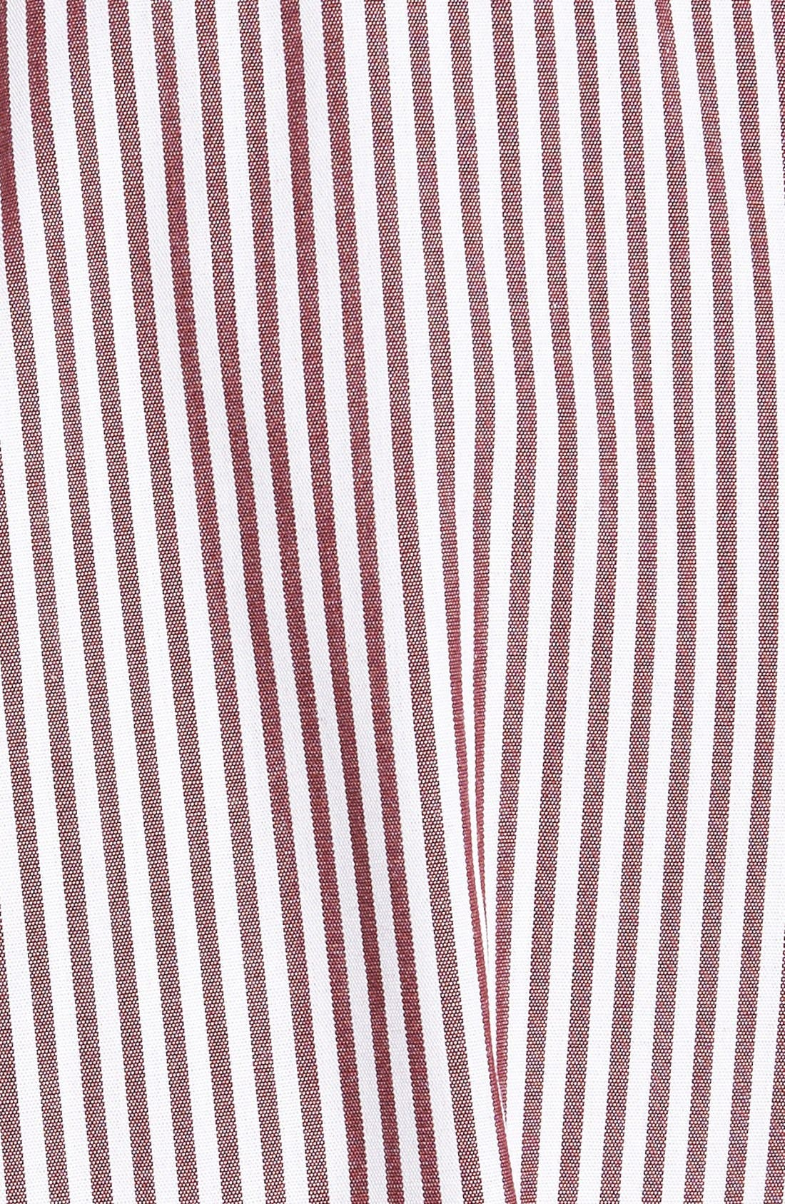 'Epic Easy Care' Regular Fit Mini Bengal Stripe Sport Shirt,                             Alternate thumbnail 5, color,                             Bordeaux