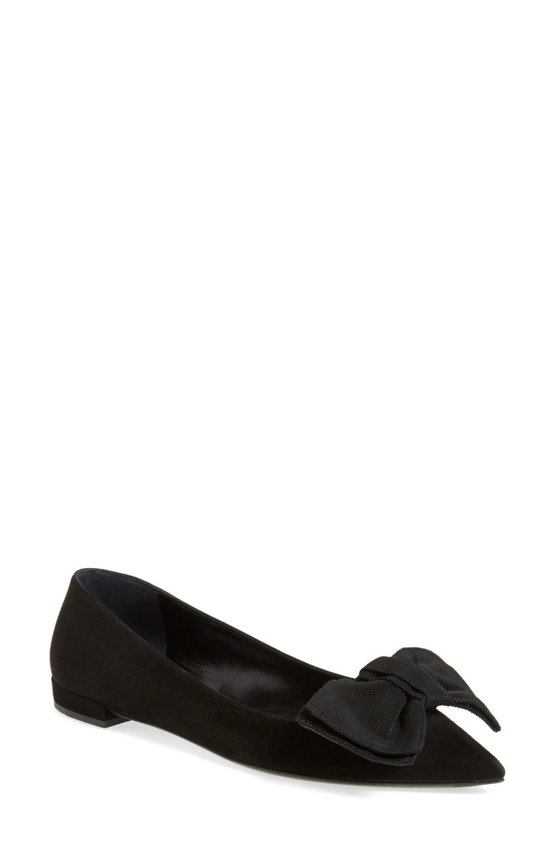 Pointy Toe Ballet Flat,                             Main thumbnail 1, color,                             Black