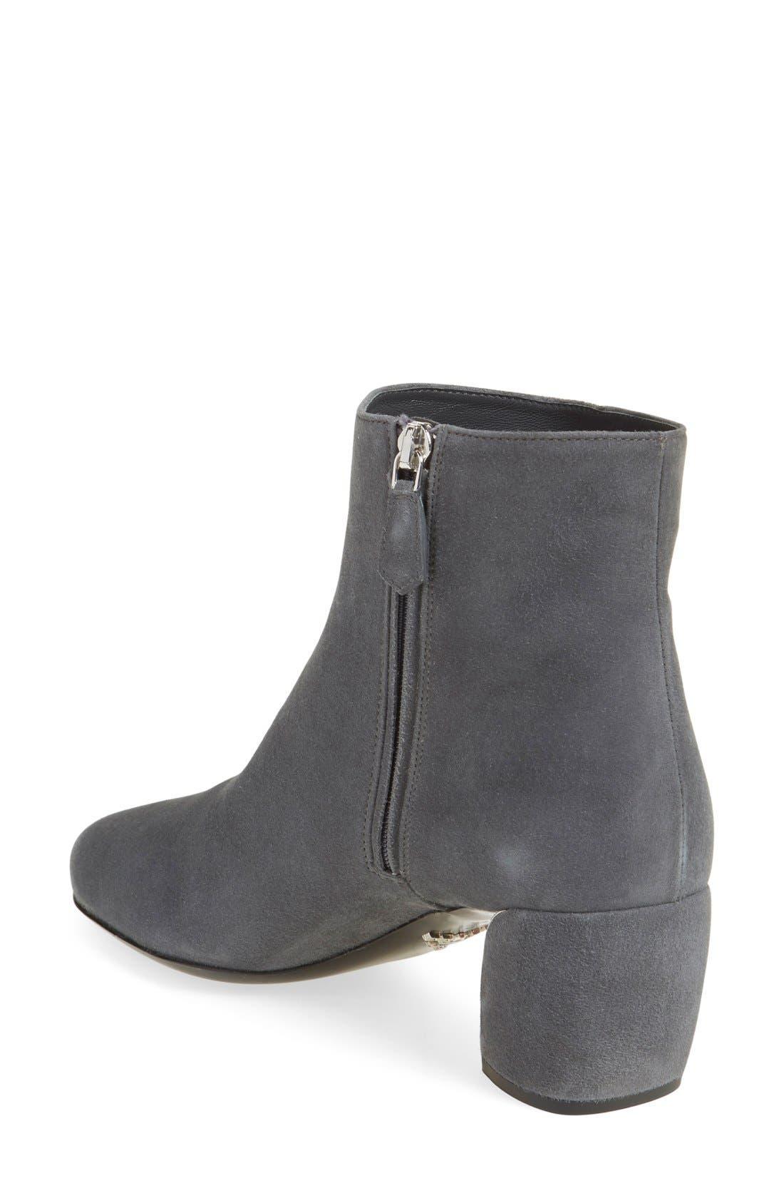 Block Heel Boot,                             Alternate thumbnail 2, color,                             Grey Suede