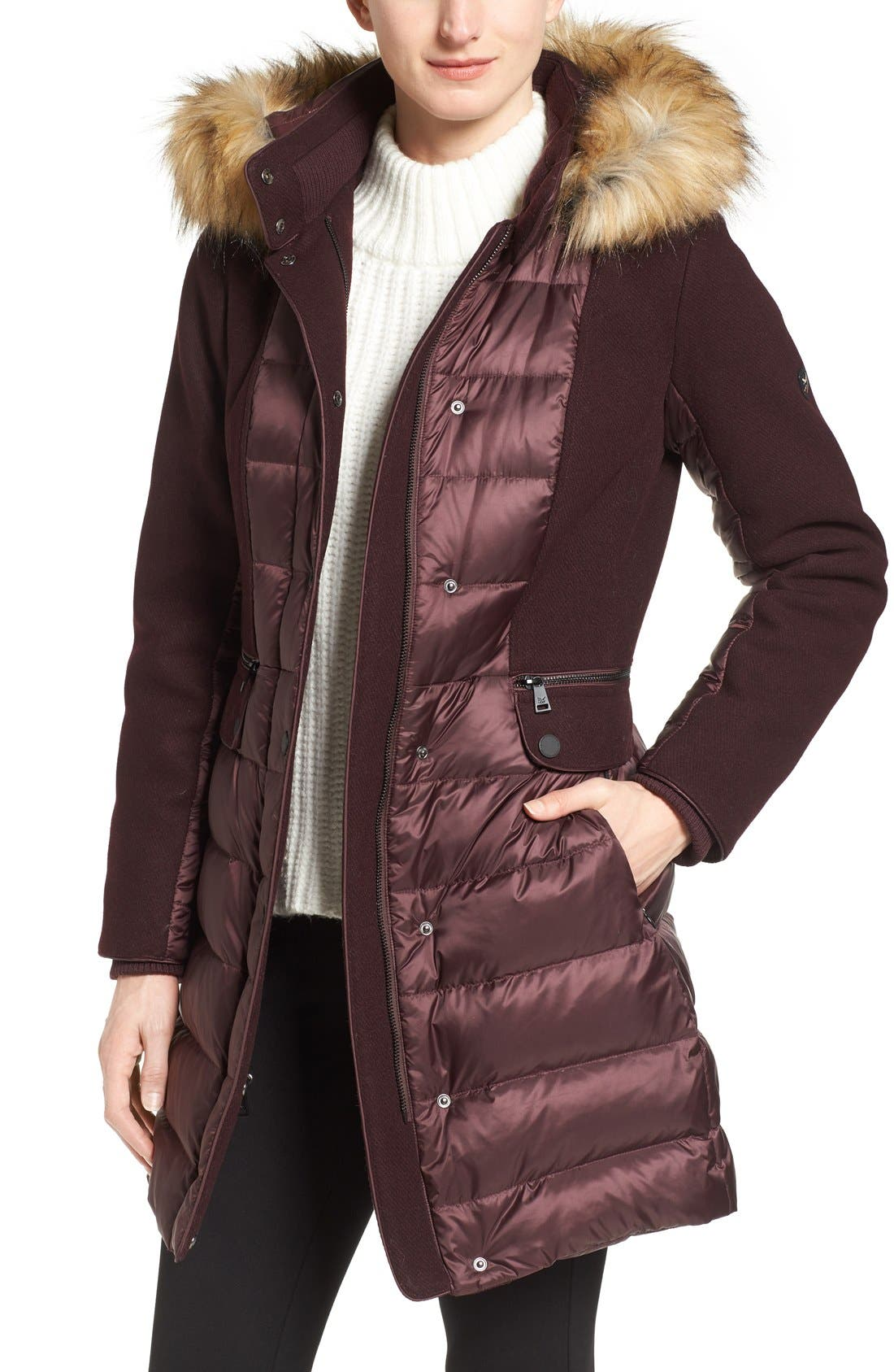 Main Image - 1 Madison Mixed Media Faux Fur Trim Hooded Down Coat