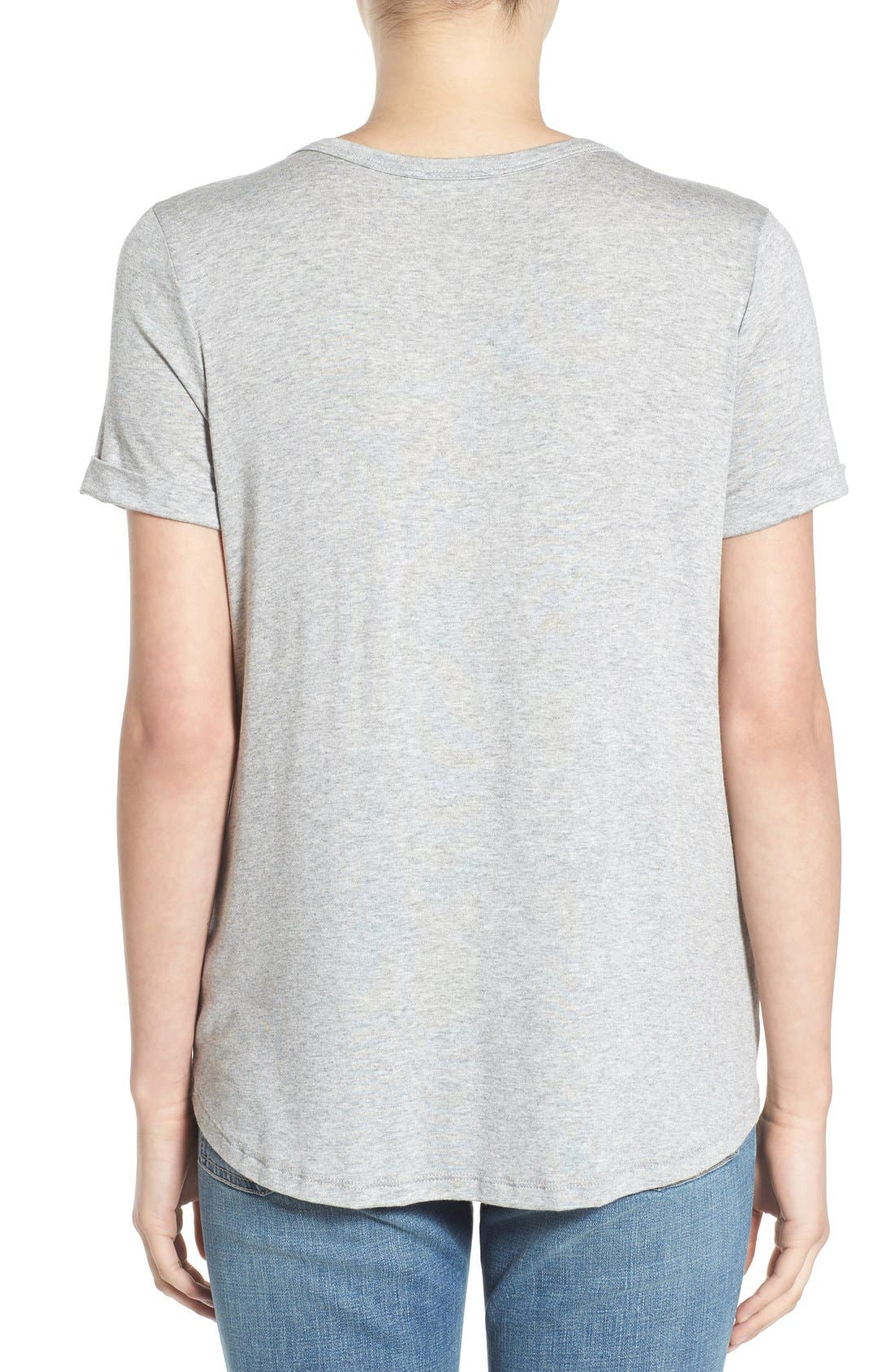 Deep-V Neck Tee,                             Alternate thumbnail 3, color,                             Heather Grey