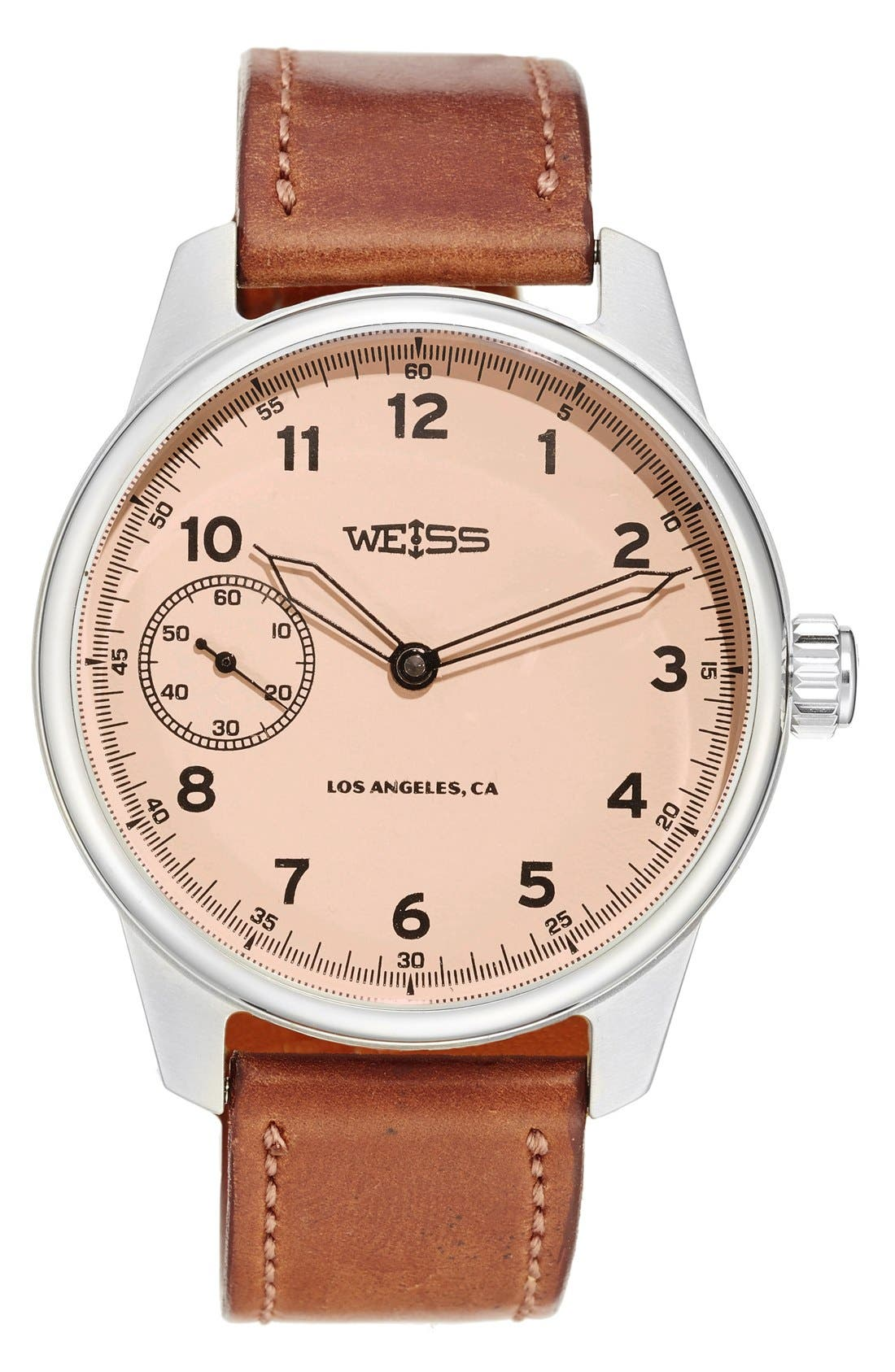 WEISS WATCH COMPANY Special Issue Leather Strap Watch, 42mm