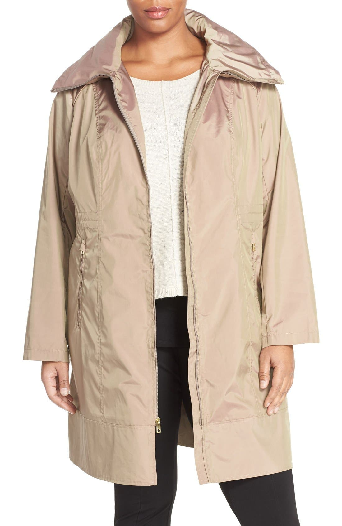 Water-Resistant Packable Hooded Anorak,                         Main,                         color, Champagne