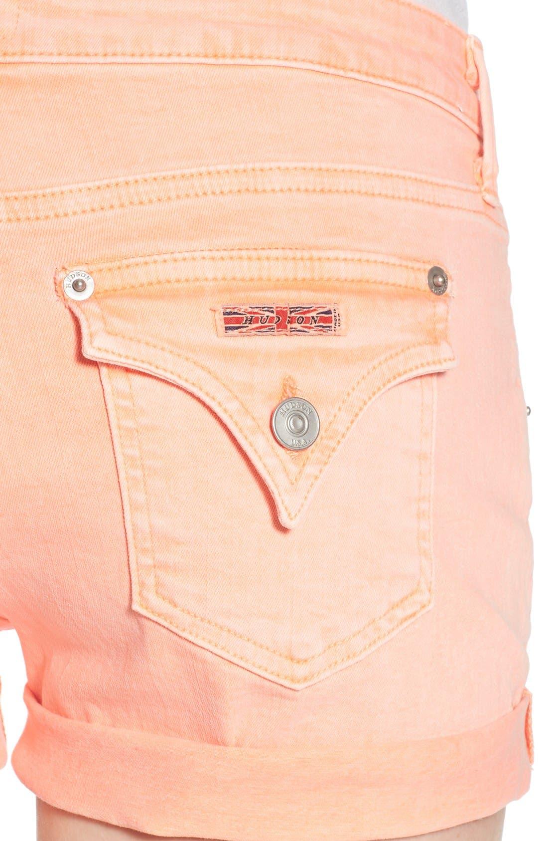 Alternate Image 4  - Hudson Jeans 'Hampton' Cuffed Denim Shorts (Luminous Orange)
