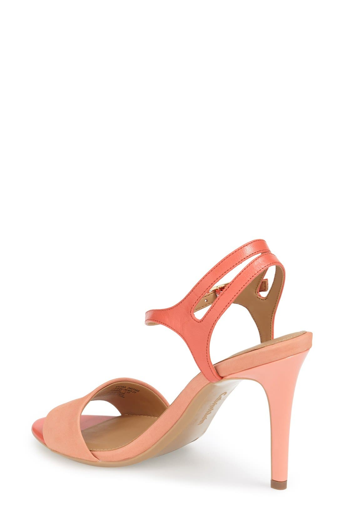 'Nadina' Ankle Strap Sandal,                             Alternate thumbnail 2, color,                             Salmon/ Deep Coral Leather