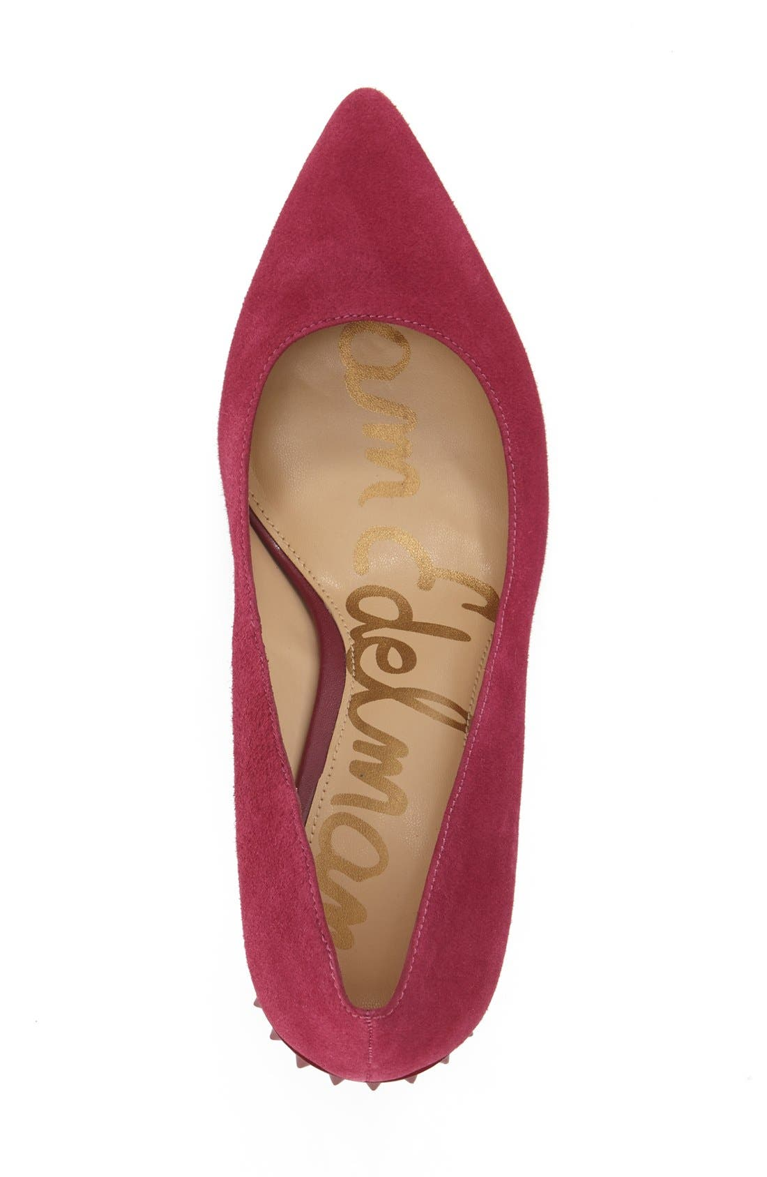 'Tonia' Spike Rand Pointy Toe Pump,                             Alternate thumbnail 3, color,                             Pink Suede