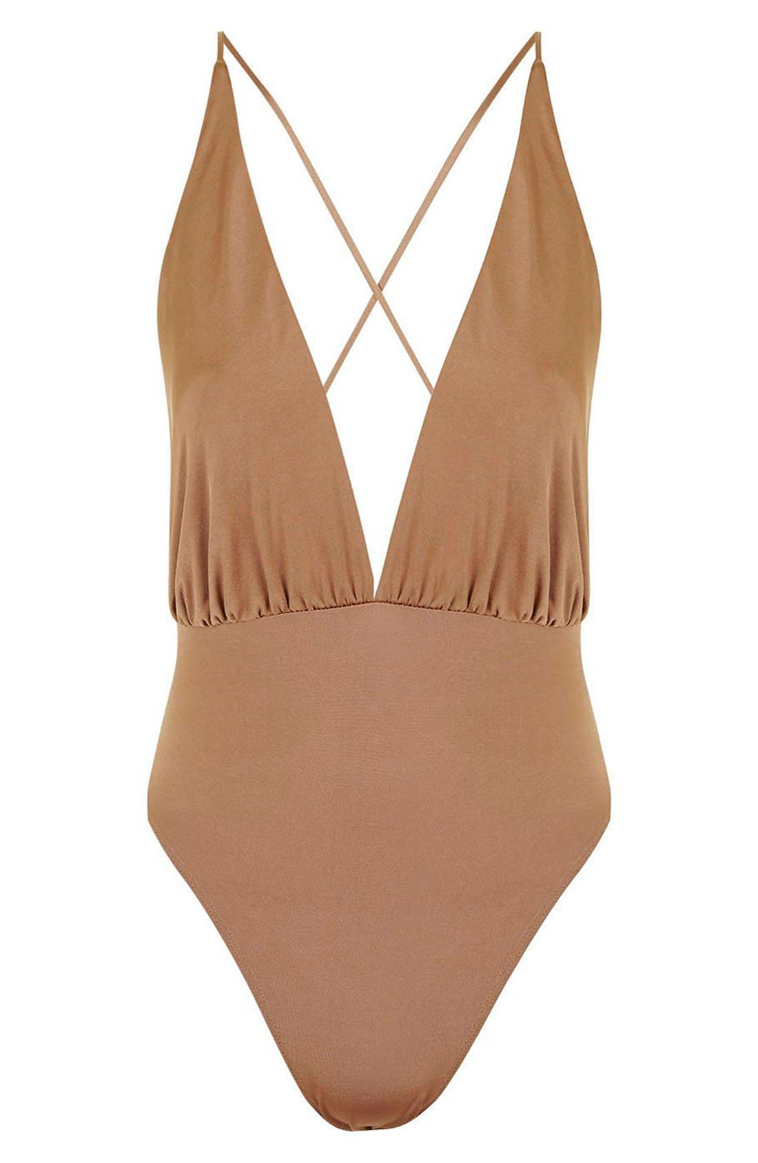 Alternate Image 4  - Topshop Plunge Cross Back Bodysuit