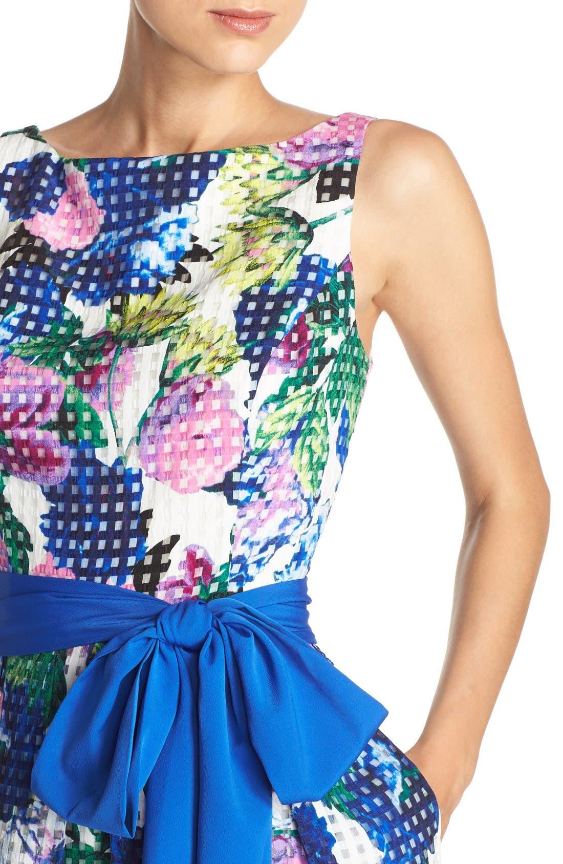Alternate Image 5  - Eliza J Floral Check Organza Fit & Flare Dress
