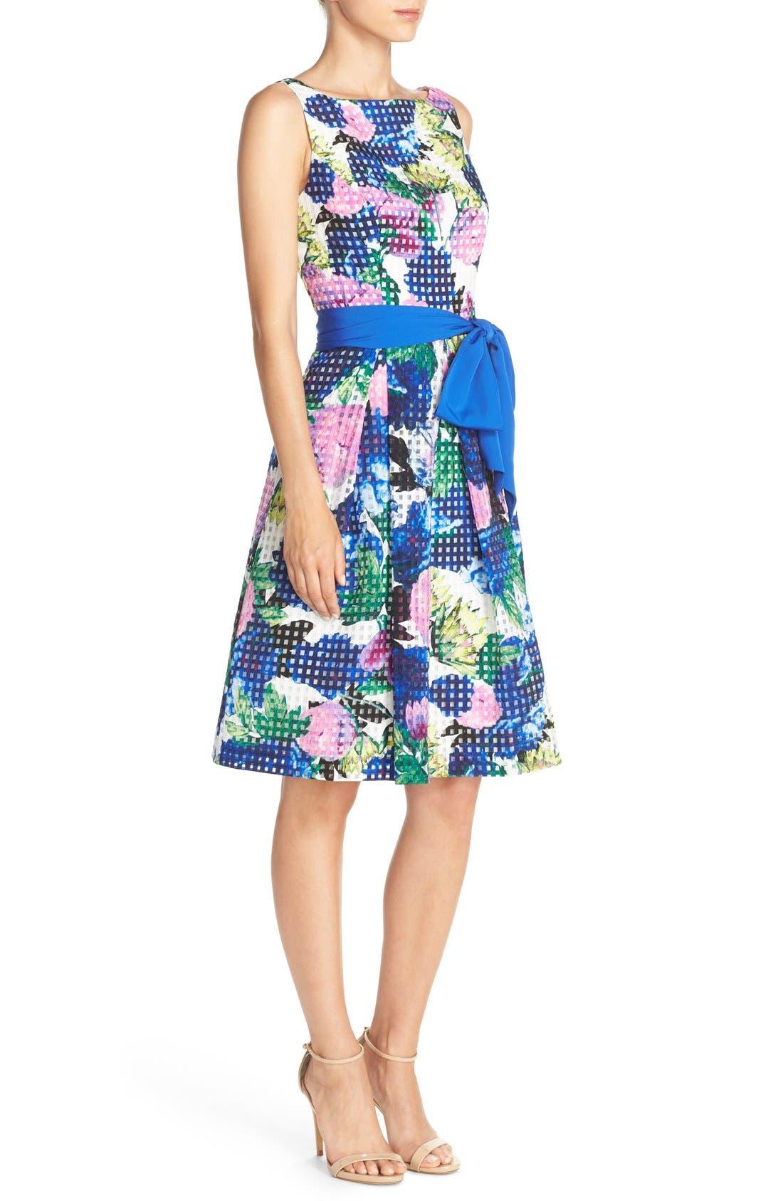 Alternate Image 3  - Eliza J Floral Check Organza Fit & Flare Dress