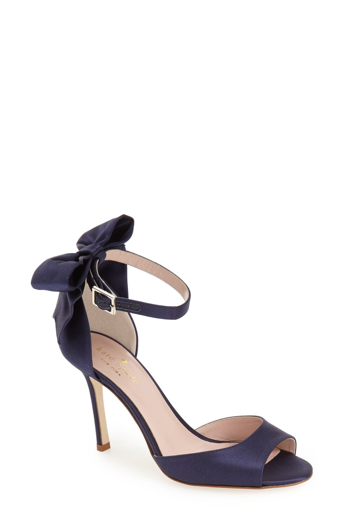'izzie' sandal,                             Main thumbnail 1, color,                             Navy Satin