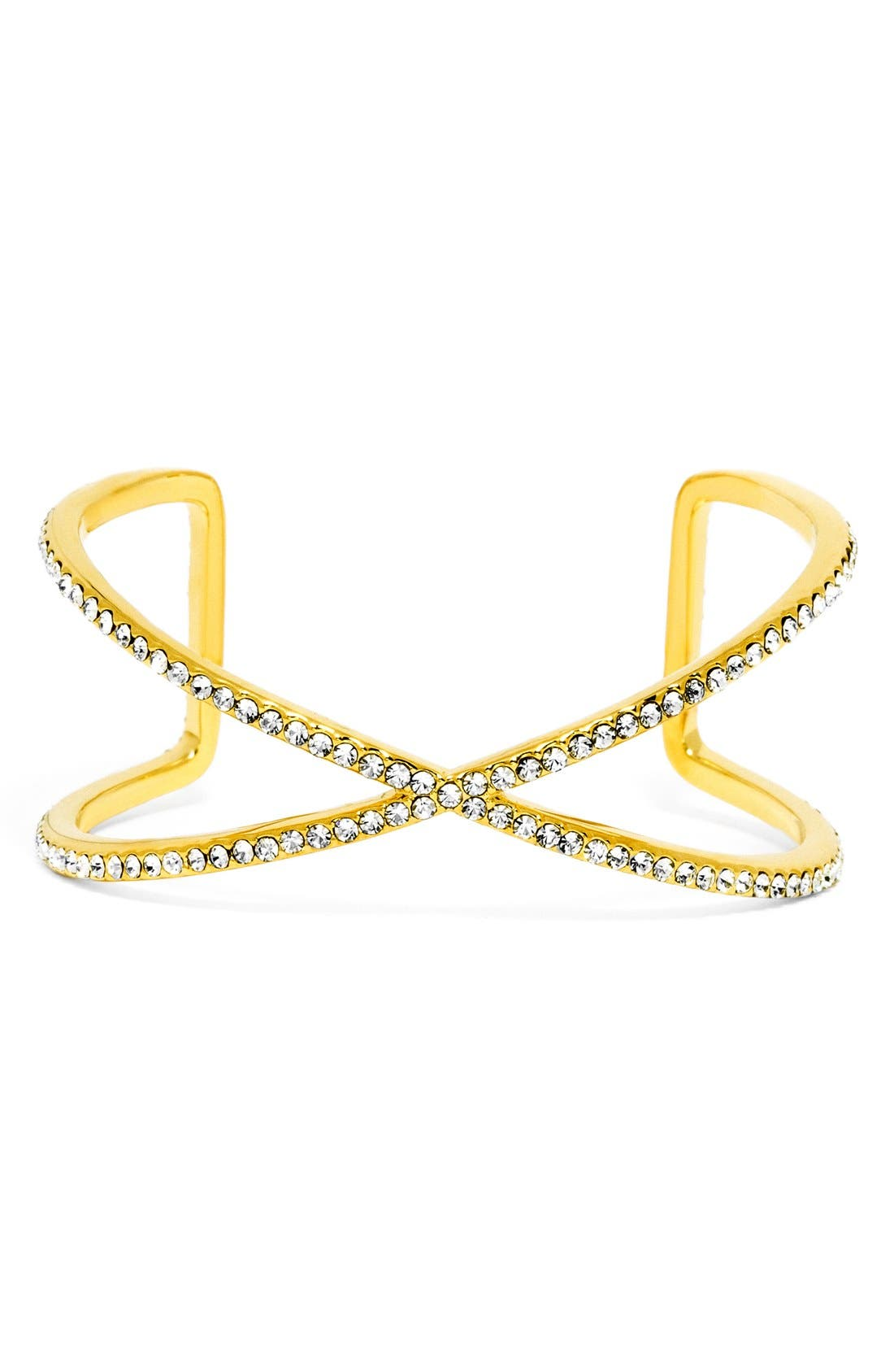 'Ion' Pavé Crystal Cuff,                             Main thumbnail 1, color,                             Gold